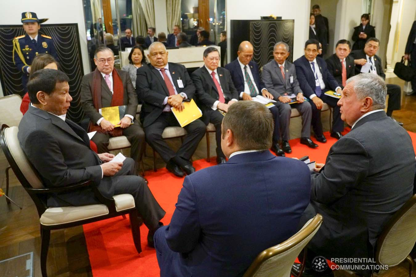 President Rodrigo Roa Duterte discusses matters with the officials of Rosneft Oil Co. led by its CEO Igor Sechin who paid a courtesy call on the President at the Four Seasons Hotel in Moscow, Russia on October 2, 2019. JOEY DALUMPINES/PRESIDENTIAL PHOTO