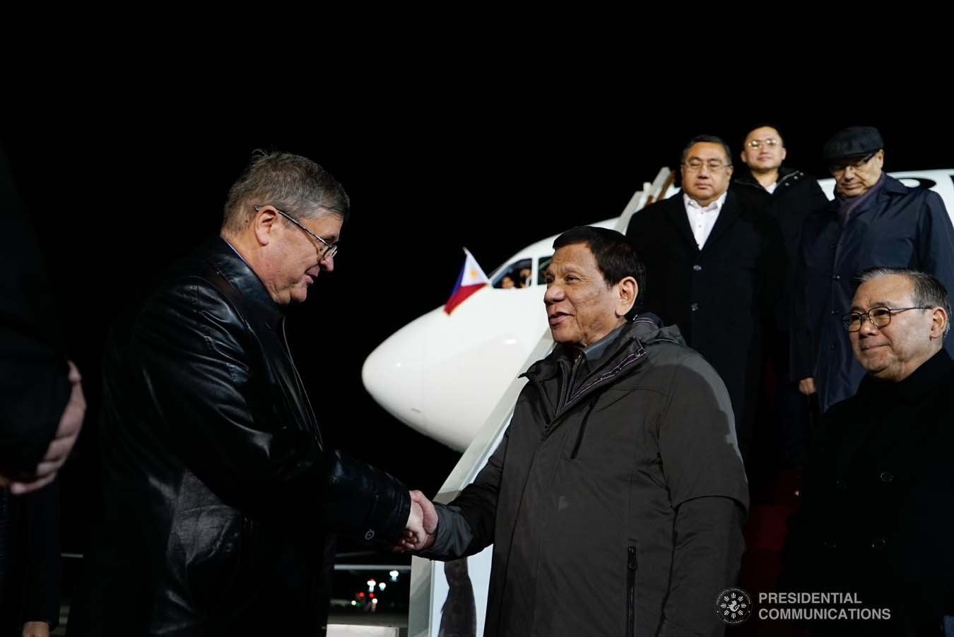 President Rodrigo Roa Duterte receives a warm welcome from the members of the reception party upon his arrival at the Vnukovo Military Base Airport in Moscow, Russian Federation on October 2, 2019. KING RODRIGUEZ/PRESIDENTIAL PHOTO
