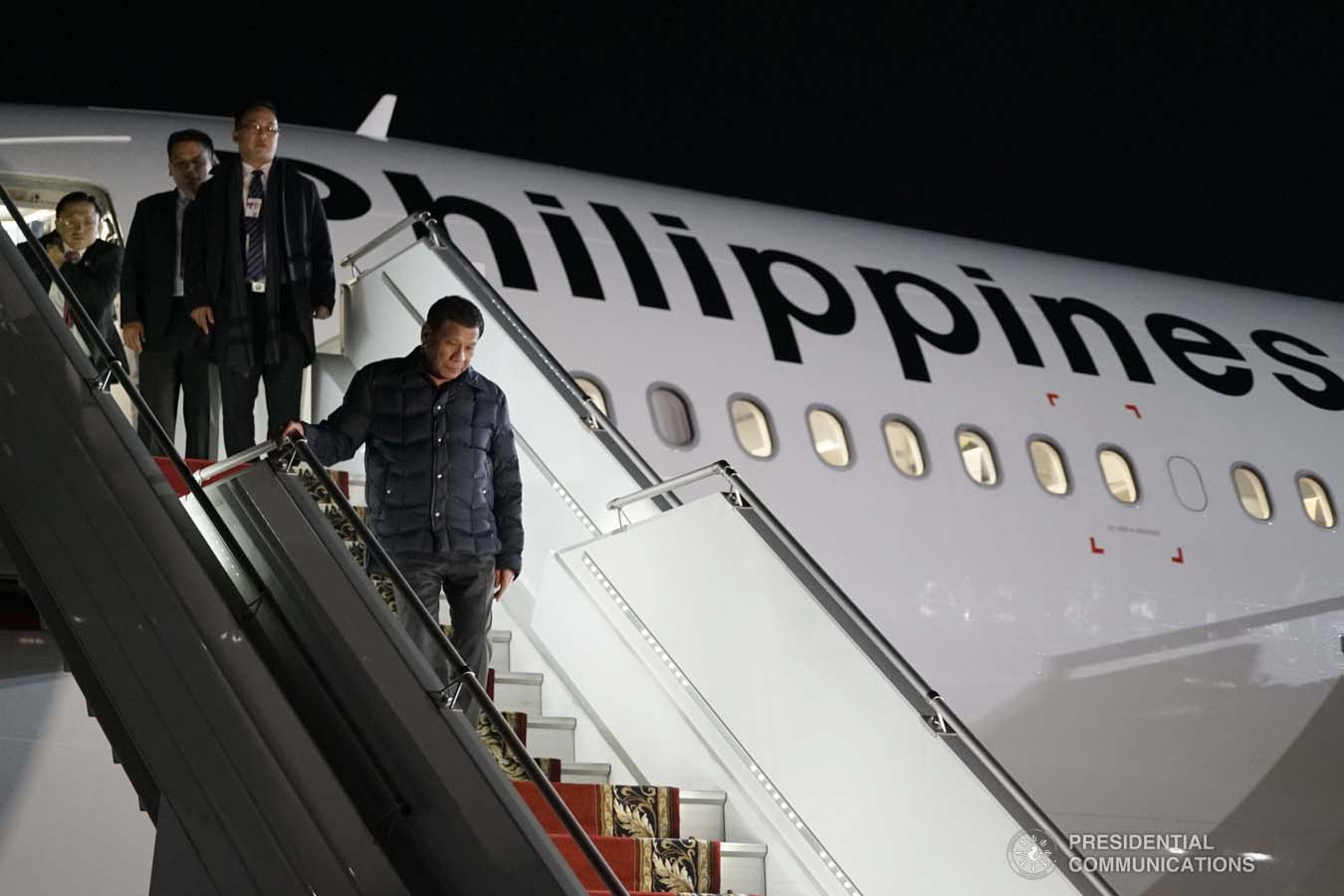 President Rodrigo Roa Duterte alights from a plane upon his arrival at the Sochi International Airport in Russia on October 2, 2019. KING RODRIGUEZ/PRESIDENTIAL PHOTO