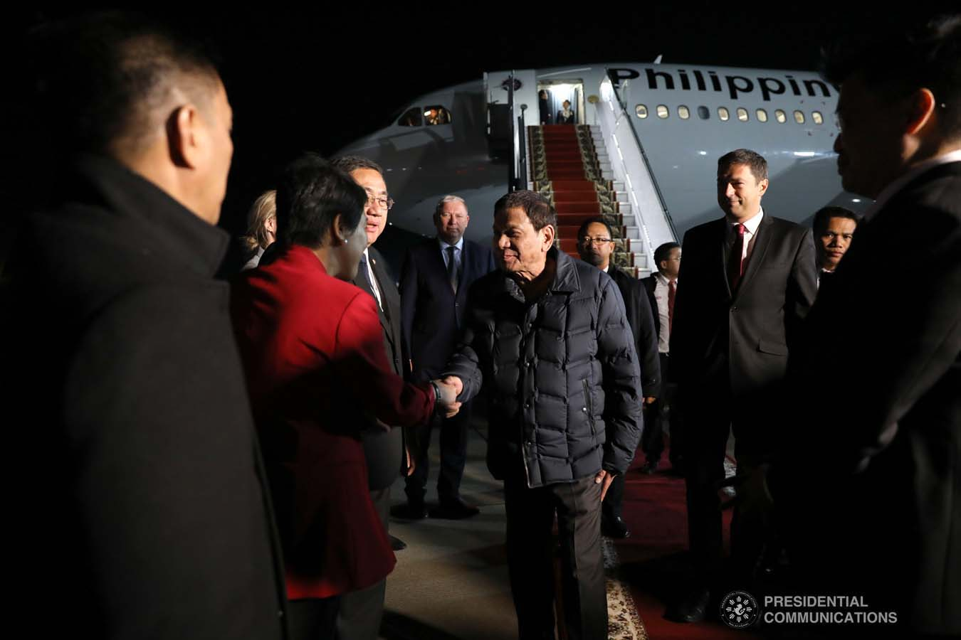 President Rodrigo Roa Duterte receives a warm welcome from the members of the reception party upon his arrival at the Sochi International Airport in Russia on October 2, 2019. KARL NORMAN ALONZO/PRESIDENTIAL PHOTO