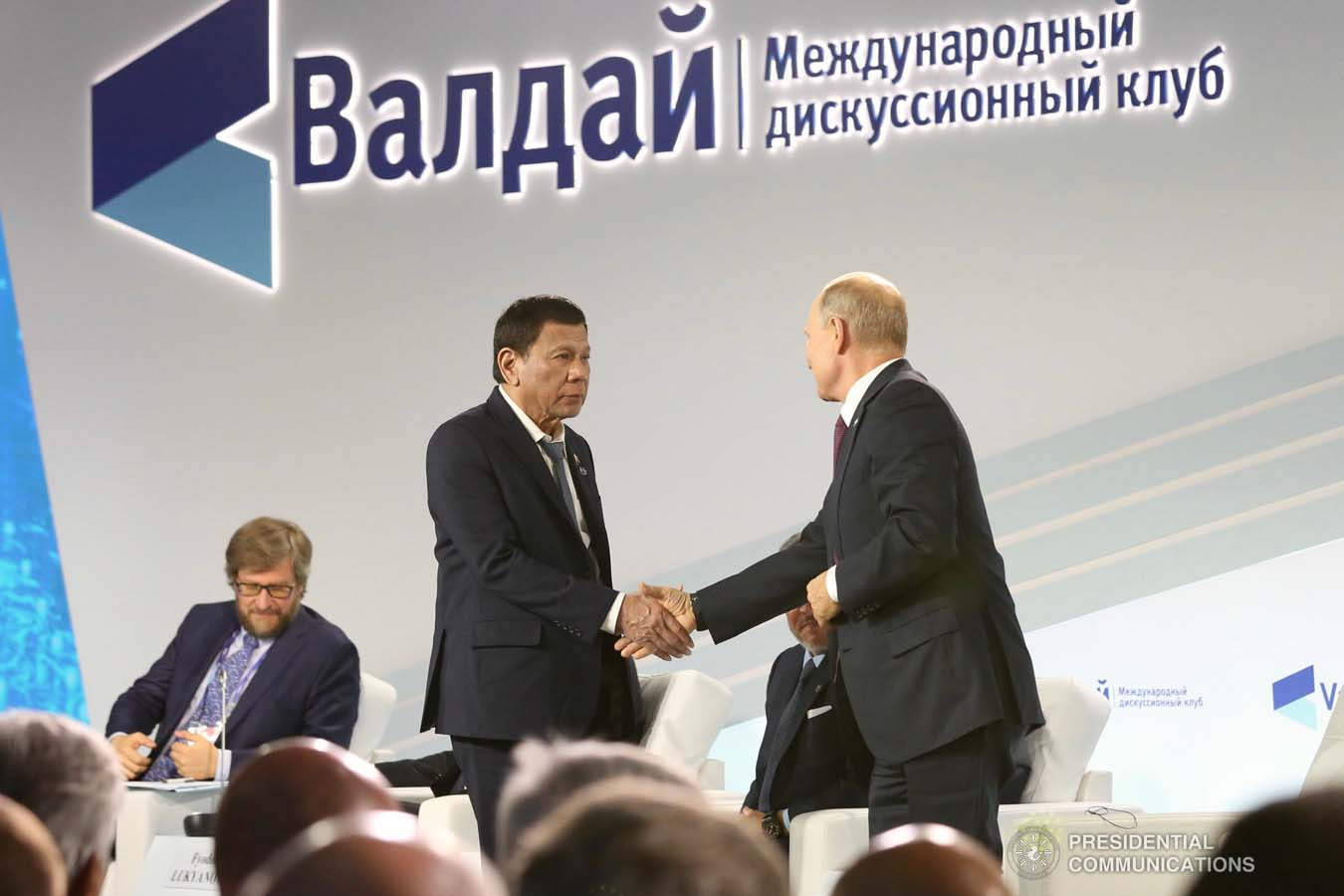 President Rodrigo Roa Duterte is greeted by Russian President Vladimir Putin after delivering his speech during the plenary session of the 16th Annual Meeting of the Valdai Discussion Club at the Polyana 1389 Hotel in Sochi, Russia on October 3, 2019. RICHARD MADELO/PRESIDENTIAL PHOTO