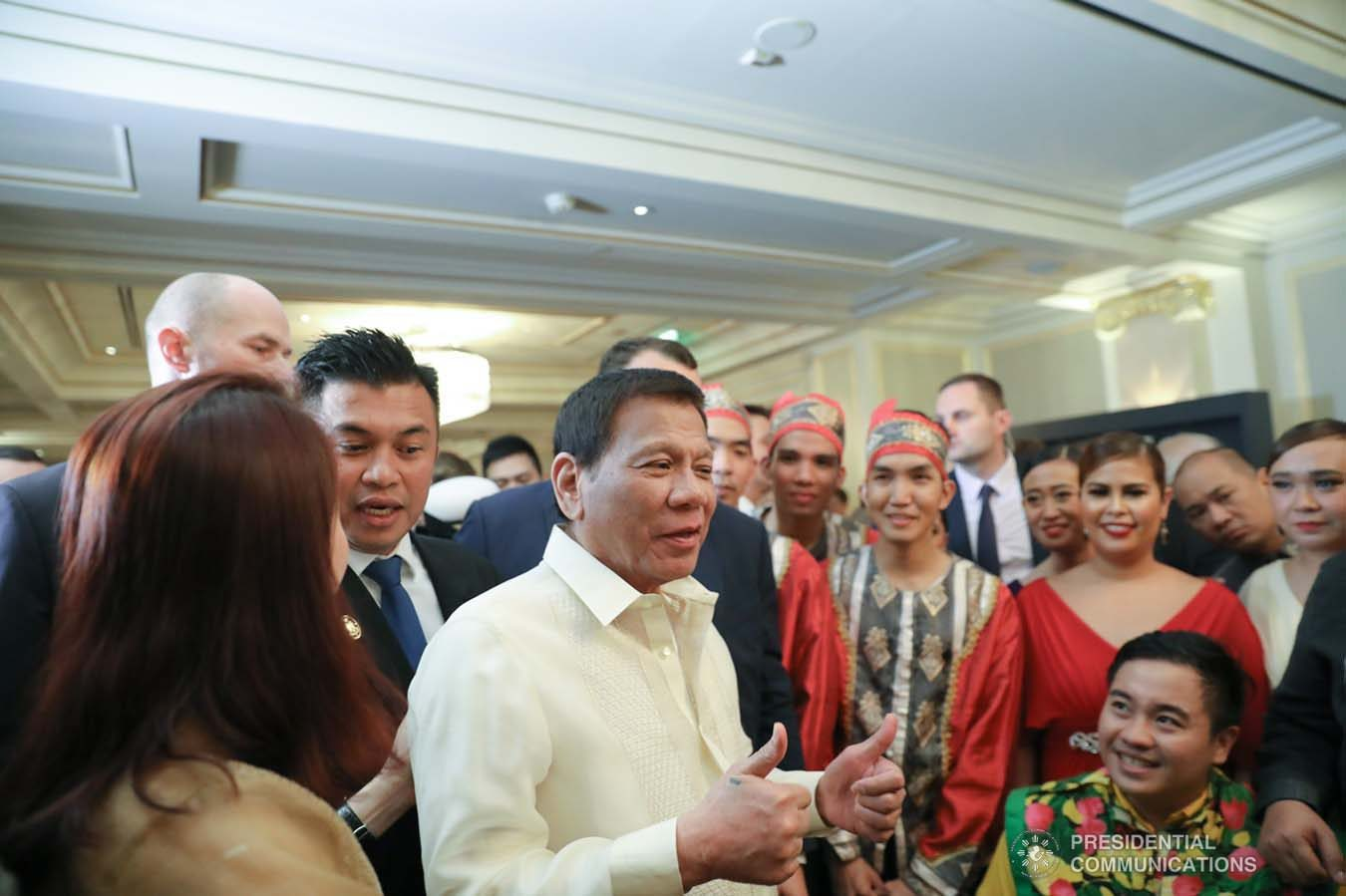 President Rodrigo Roa Duterte shares a light moment with some of the performers during the Philippine Cultural Gala Performance at the Four Seasons Hotel in Moscow, Russian Federation on October 4, 2019. ALFRED FRIAS/PRESIDENTIAL PHOTO