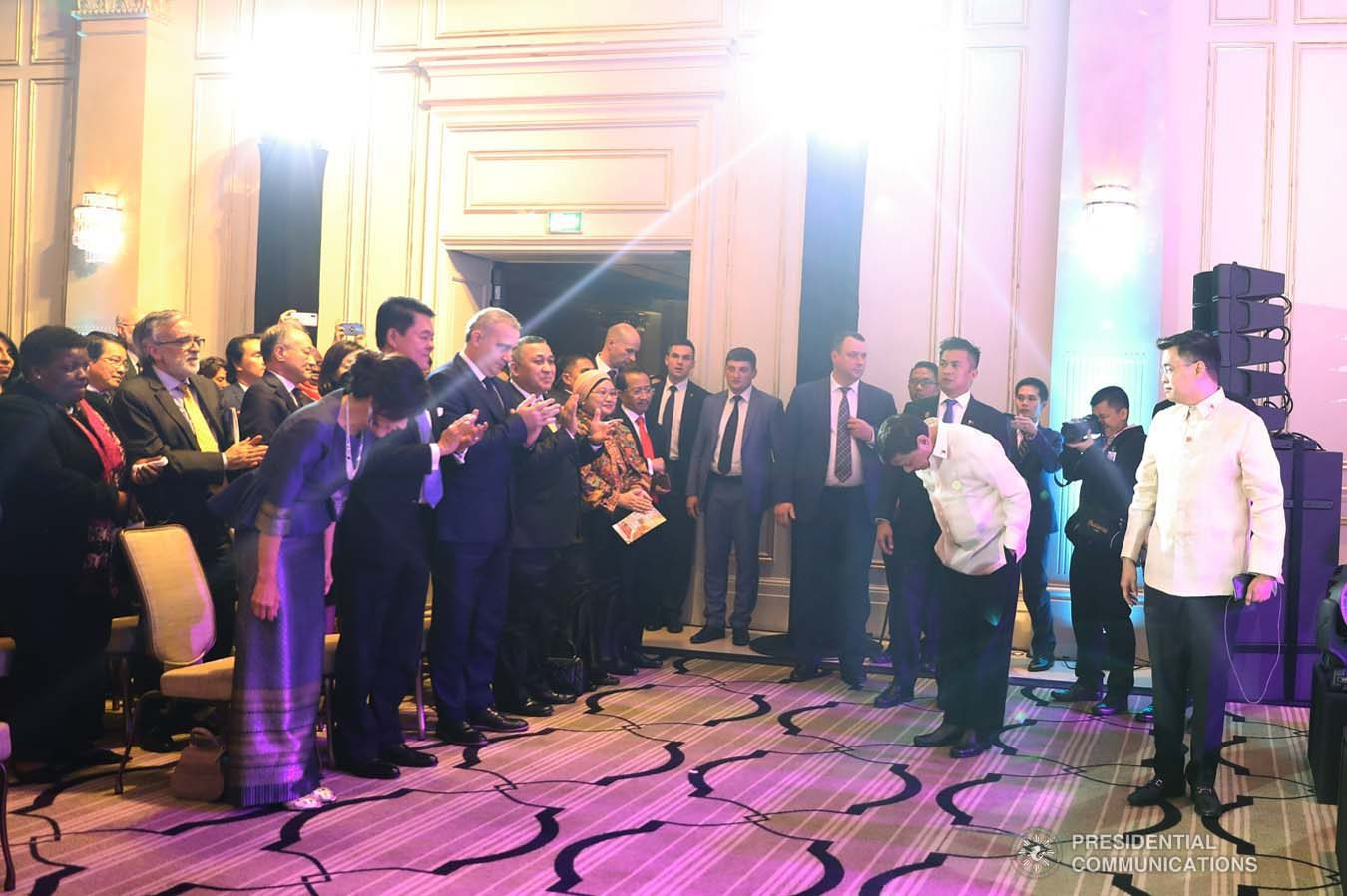 President Rodrigo Roa Duterte takes a bow before the guests during the Philippine Cultural Gala Performance at the Four Seasons Hotel in Moscow, Russian Federation on October 4, 2019. ALFRED FRIAS/PRESIDENTIAL PHOTO