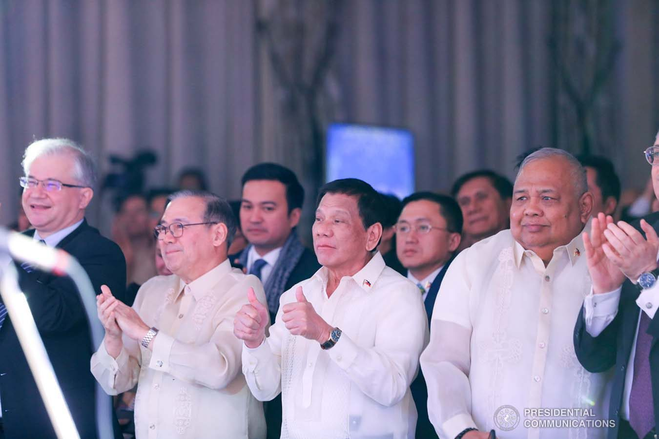 President Rodrigo Roa Duterte gives the thumbs up to the performers during the Philippine Cultural Gala Performance at the Four Seasons Hotel in Moscow, Russian Federation on October 4, 2019. ALFRED FRIAS/PRESIDENTIAL PHOTO