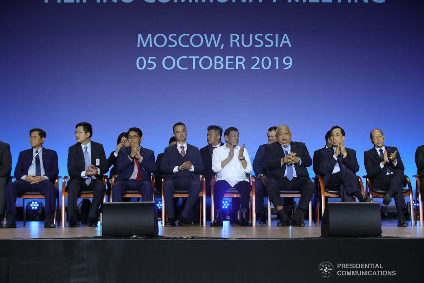 President Rodrigo Roa Duterte applauds while witnessing the program proper during his meeting with the Filipino community at the Exhibition of Achievements of National Economy (VDNH) in Moscow on October 5, 2019. ROBINSON NIÑAL JR./PRESIDENTIAL PHOTO