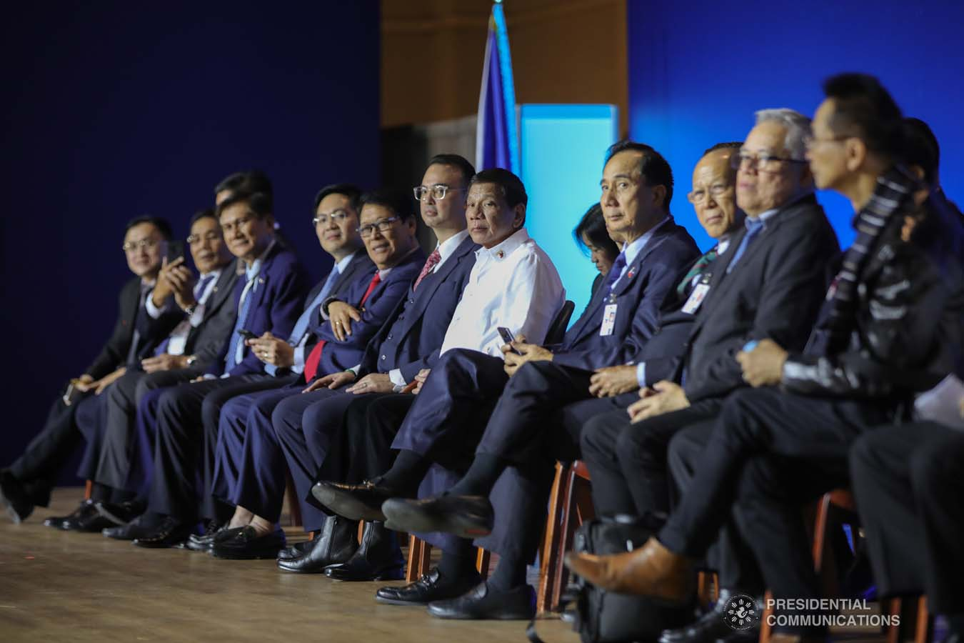 President Rodrigo Roa Duterte witnesses the program proper during his meeting with the Filipino community at the Exhibition of Achievements of National Economy (VDNH) in Moscow on October 5, 2019. ROBINSON NIÑAL JR./PRESIDENTIAL PHOTO