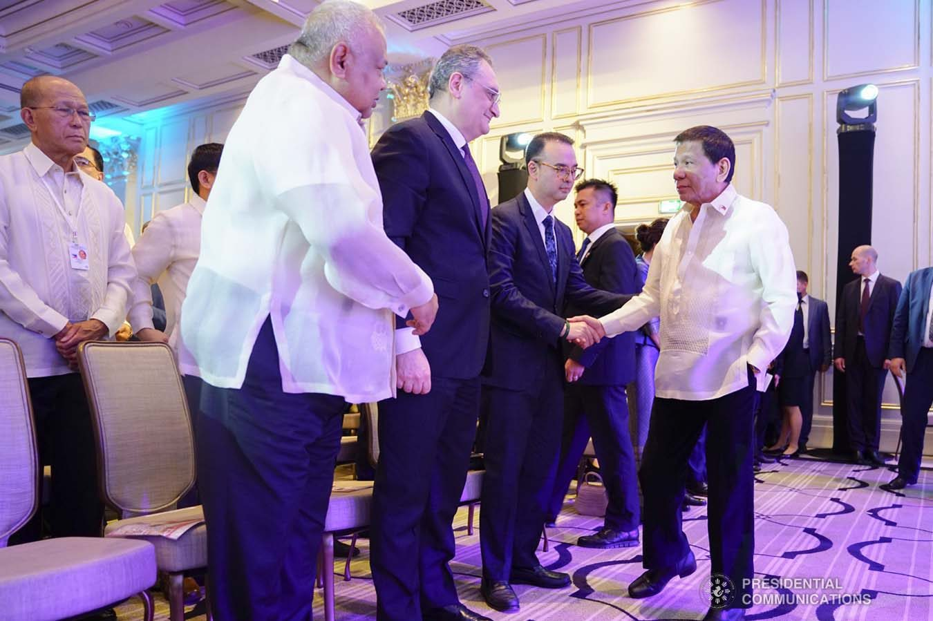 President Rodrigo Roa Duterte greets the guests during the Philippine Cultural Gala Performance at the Four Seasons Hotel in Moscow, Russian Federation on October 4, 2019. JOEY DALUMPINES/PRESIDENTIAL PHOTO