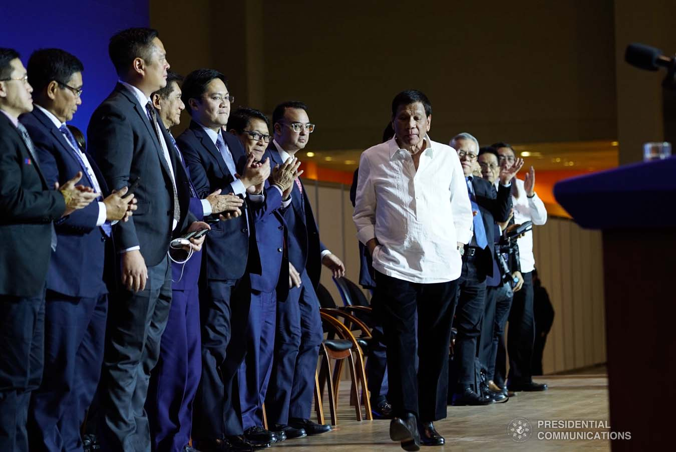 President Rodrigo Roa Duterte receives a warm round of applause from the members of his delegation as he prepares to deliver his speech during his meeting with the Filipino community at the Exhibition of Achievements of National Economy (VDNH) in Moscow on October 5, 2019. KING RODRIGUEZ/PRESIDENTIAL PHOTO