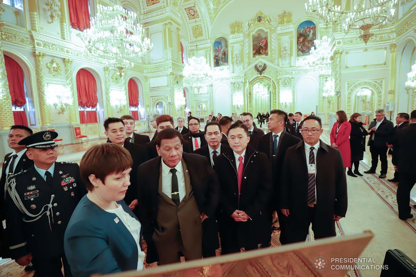 President Rodrigo Roa Duterte is given a tour inside the Kremlin Palace in Moscow, Russian Federation on October 4, 2019. KING RODRIGUEZ/PRESIDENTIAL PHOTO