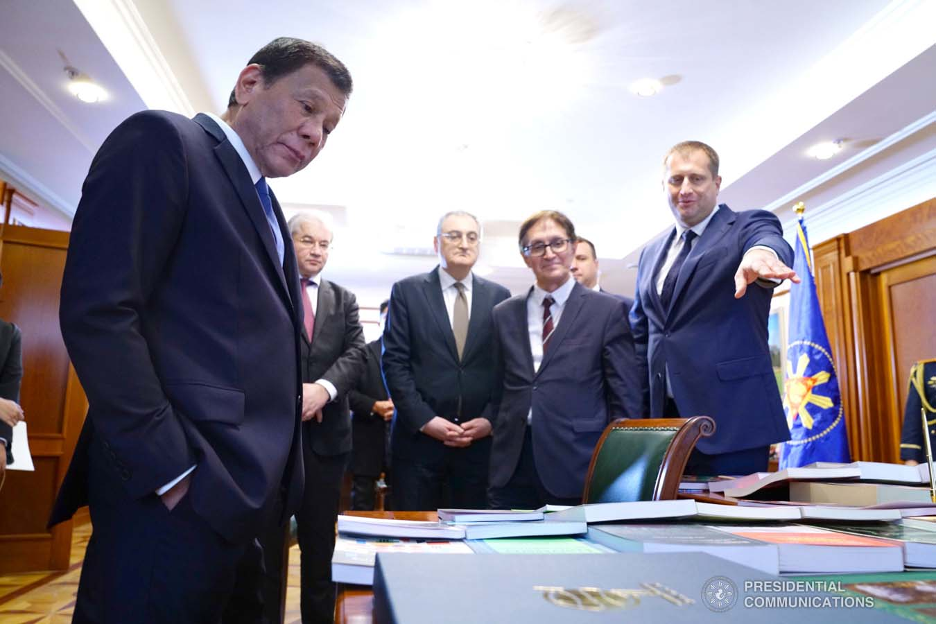 President Rodrigo Roa Duterte presents over 50 books about the Philippines to the officials of the Moscow State Institute of International Relations (MGIMO) University represented by Vice Rector Artem Malgin prior to the conferment of the honorary doctorate degree at the MGIMO University in Moscow, Russian Federation on October 05, 2019. JOEY DALUMPINES/PRESIDENTIAL PHOTO