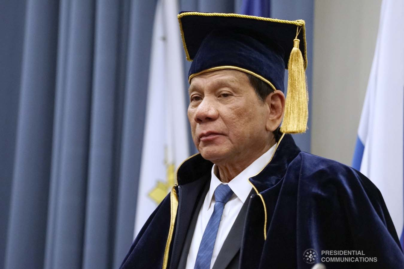 President Rodrigo Roa Duterte dons the robe and toga after receiving an honorary doctorate degree diploma from Moscow State Institute of International Relations (MGIMO) University Vice Rector Artem Malgin during a ceremony at the MGIMO University in Moscow, Russian Federation on October 05, 2019. JOEY DALUMPINES/PRESIDENTIAL PHOTO