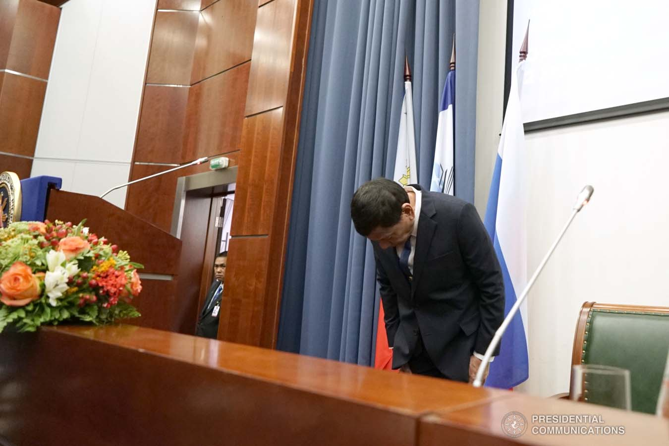 President Rodrigo Roa Duterte takes a bow before the guests during the conferment of the honorary doctorate degree at the Moscow State Institute of International Relations (MGIMO) University in Moscow, Russian Federation on October 05, 2019. KING RODRIGUEZ/PRESIDENTIAL PHOTO