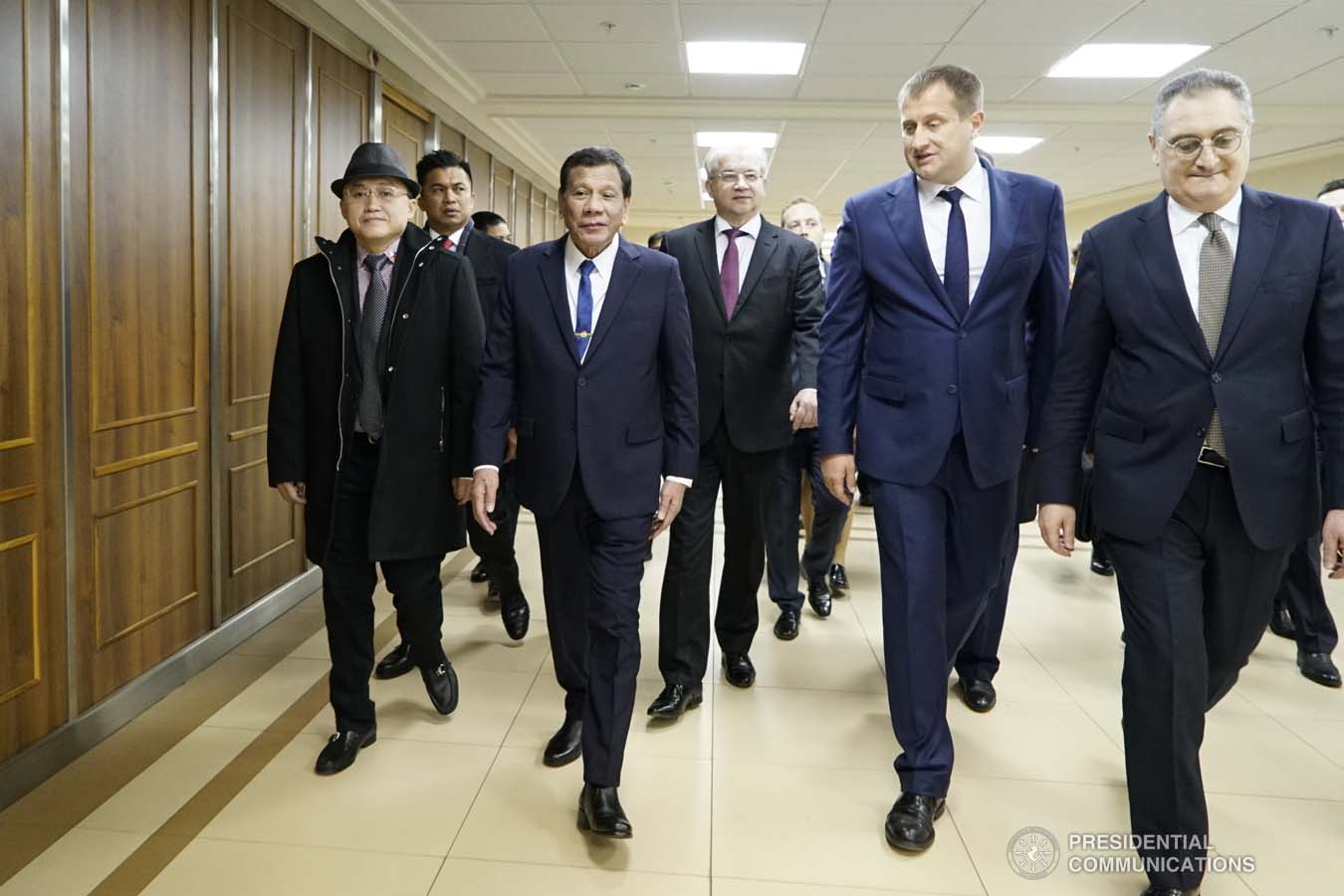 President Rodrigo Roa Duterte is accompanied by Moscow State Institute of International Relations (MGIMO) University Vice Rector Artem Malgin prior to the conferment of the honorary doctorate degree at the MGIMO University in Moscow, Russian Federation on October 05, 2019. KING RODRIGUEZ/PRESIDENTIAL PHOTO