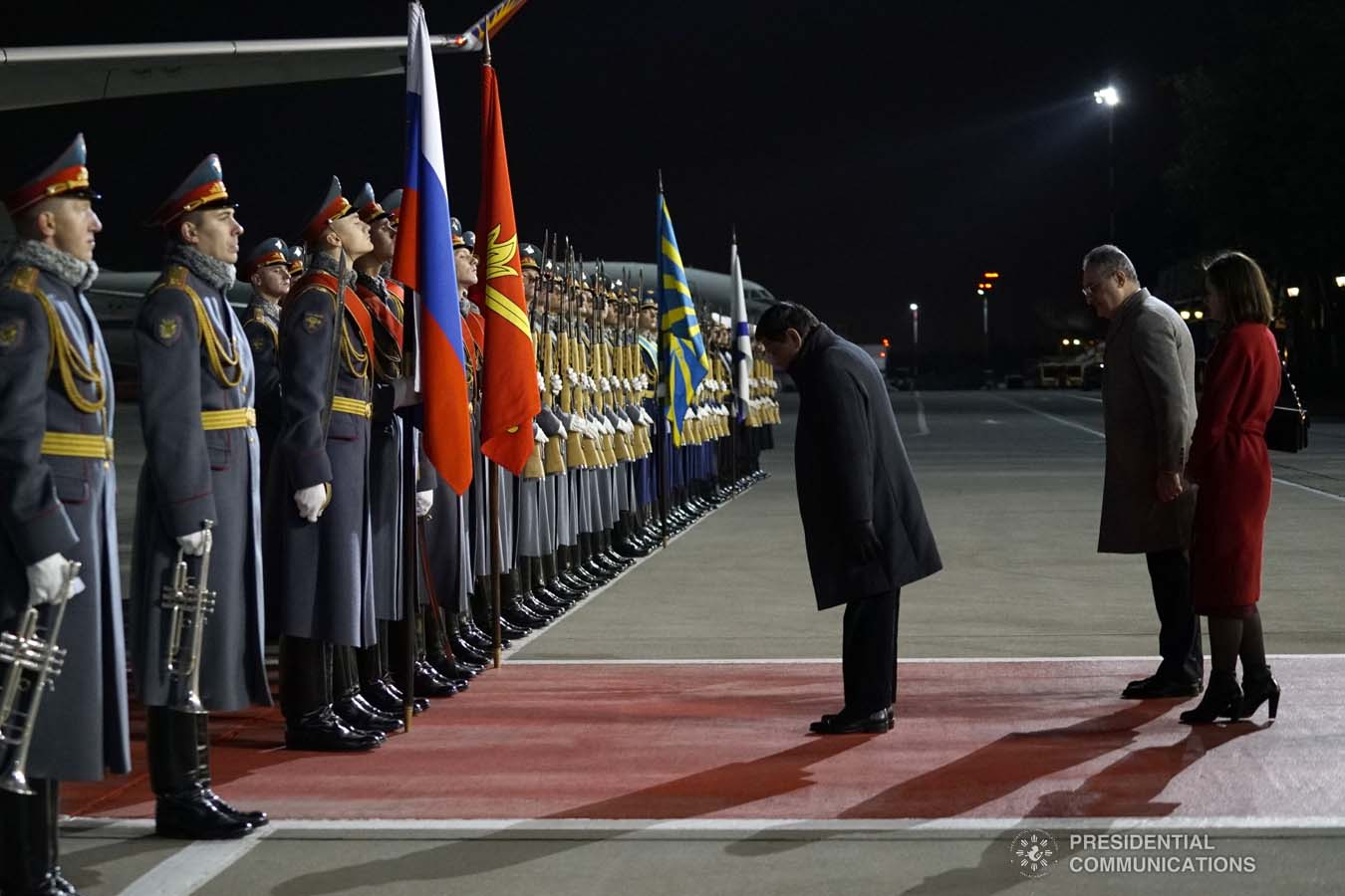President Rodrigo Roa Duterte takes a bow before the honor guards as he prepares to depart at the Vnukovo Military Base Airport in Moscow, Russian Federation on October 5, 2019. KING RODRIGUEZ/PRESIDENTIAL PHOTO