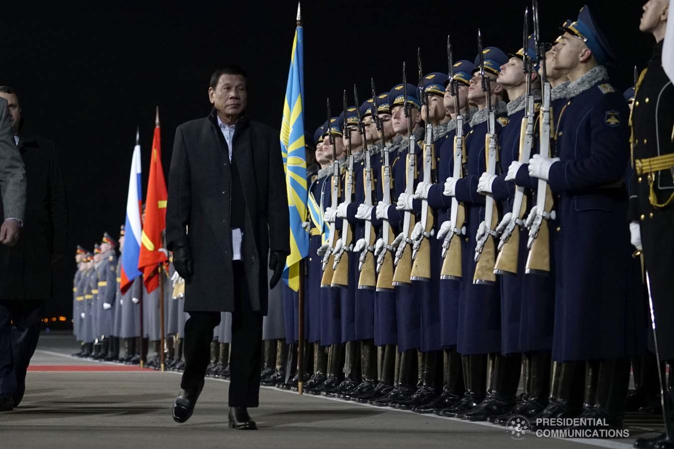 President Rodrigo Roa Duterte is accorded foyer honors as he prepares to depart at the Vnukovo Military Base Airport in Moscow, Russian Federation on October 5, 2019. KING RODRIGUEZ/PRESIDENTIAL PHOTO