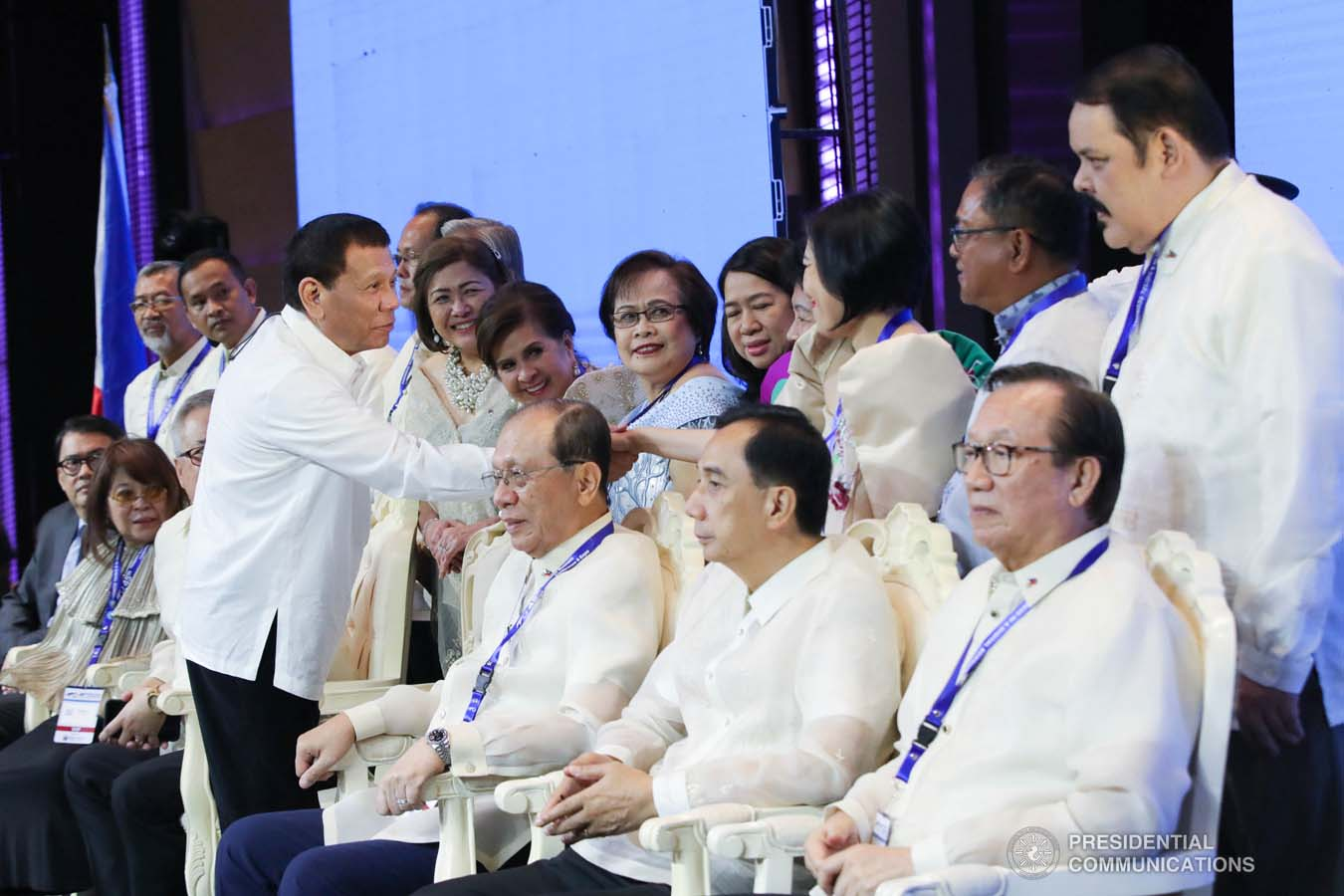 President Rodrigo Roa Duterte greets some of the guests during the 45th Philippine Business Conference and Expo at The Manila Hotel on October 17, 2019. ROBINSON NIÑAL JR./PRESIDENTIAL PHOTO