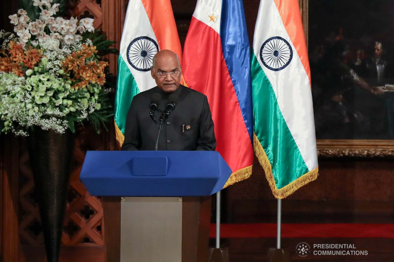 President of the Republic of India Ram Nath Kovind declares his joint press statement with President Rodrigo Roa Duterte following their successful expanded bilateral meeting at the Malacañan Palace on October 18, 2019. President Kovind is on a five-day state visit to the Philippines. SIMEON CELI JR./PRESIDENTIAL PHOTO