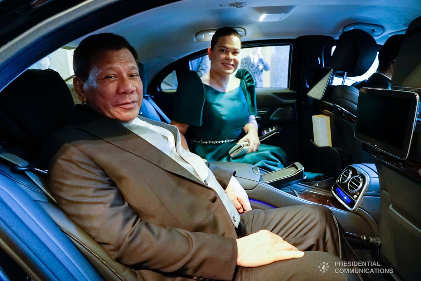 President Rodrigo Roa Duterte poses for posterity with his daughter, Davao City Mayor Sara Duterte-Carpio, as they prepare to head to the Imperial Palace in Tokyo, Japan for the Ceremonies of the Accession to the Throne of His Majesty Emperor Naruhito on October 22, 2019. KING RODRIGUEZ/PRESIDENTIAL PHOTO