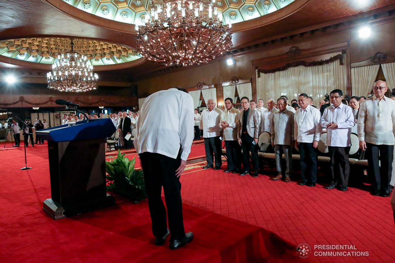 President Rodrigo Roa Duterte takes a bow before the newly appointed government officials during their oath-taking ceremony at the Malacañan Palace on October 28, 2019. KARL NORMAN ALONZO/PRESIDENTIAL PHOTO