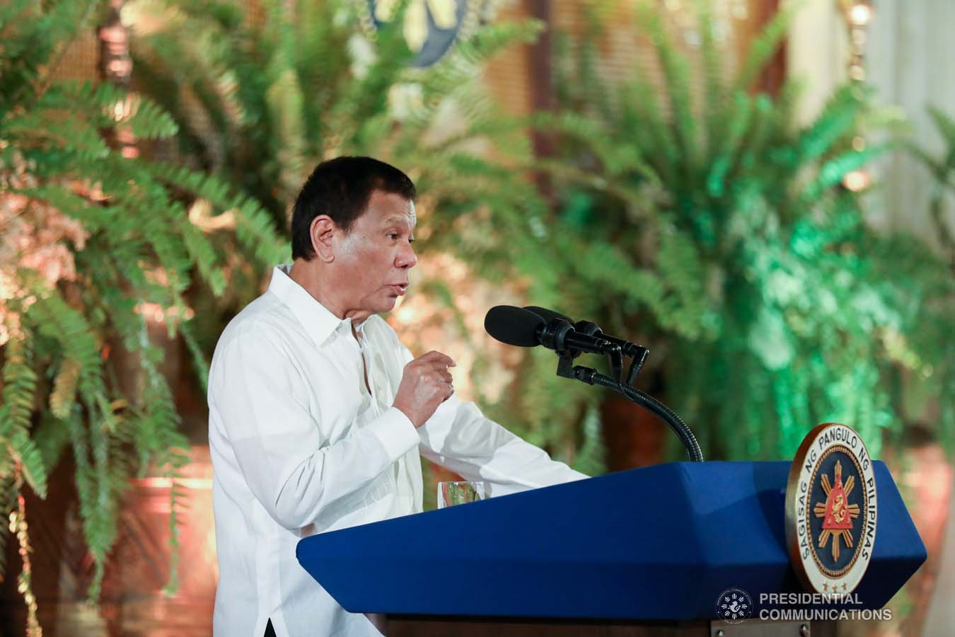President Rodrigo Roa Duterte delivers his speech during the oath-taking ceremony of the newly appointed government officials at the Malacañan Palace on October 28, 2019. KARL NORMAN ALONZO/PRESIDENTIAL PHOTO