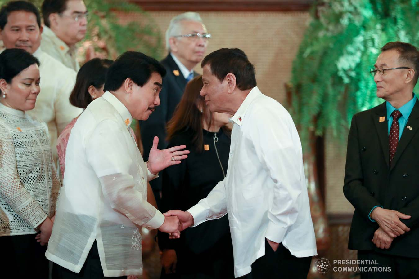 President Rodrigo Roa Duterte greets one of the guests during the oath-taking ceremony of newly appointed government officials at the Malacañan Palace on October 28, 2019. KARL NORMAN ALONZO/PRESIDENTIAL PHOTO