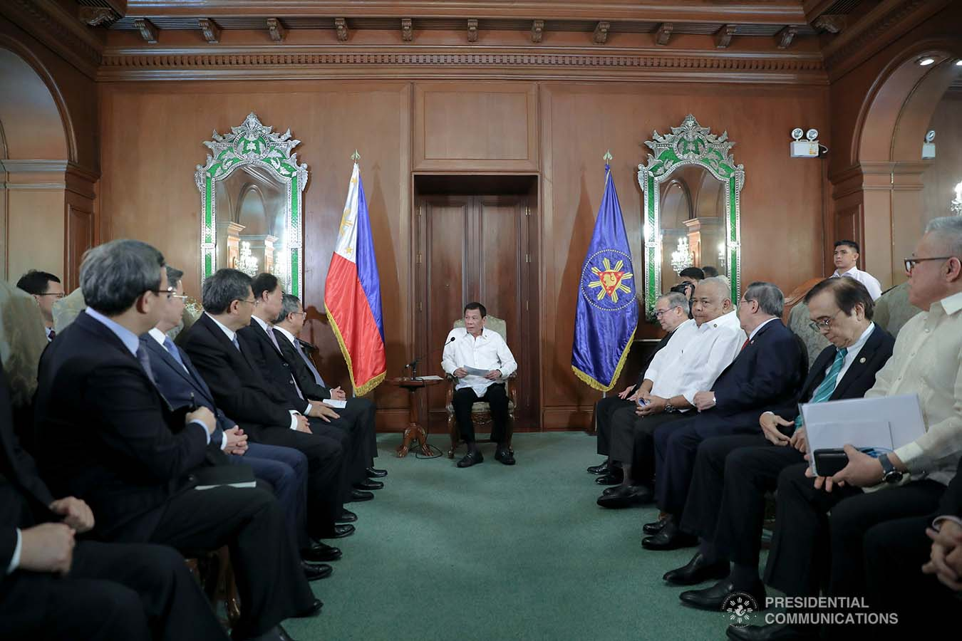 President Rodrigo Roa Duterte discusses matters with Vice Premier of the People's Republic of China Hu Chunhua who paid a courtesy call on the President at the Malacañan Palace on October 24, 2019. ALFRED FRIAS/PRESIDENTIAL PHOTO