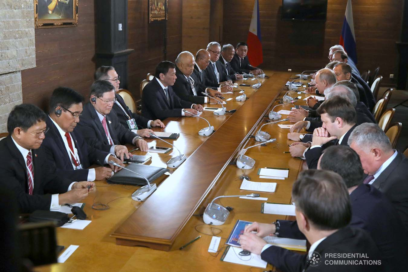 President Rodrigo Roa Duterte and the members of his delegation hold a bilateral meeting with Russian President Vladimir Putin at the Polyana 1389 Hotel in Sochi on October 3, 2019. KING RODRIGUEZ/PRESIDENTIAL PHOTO