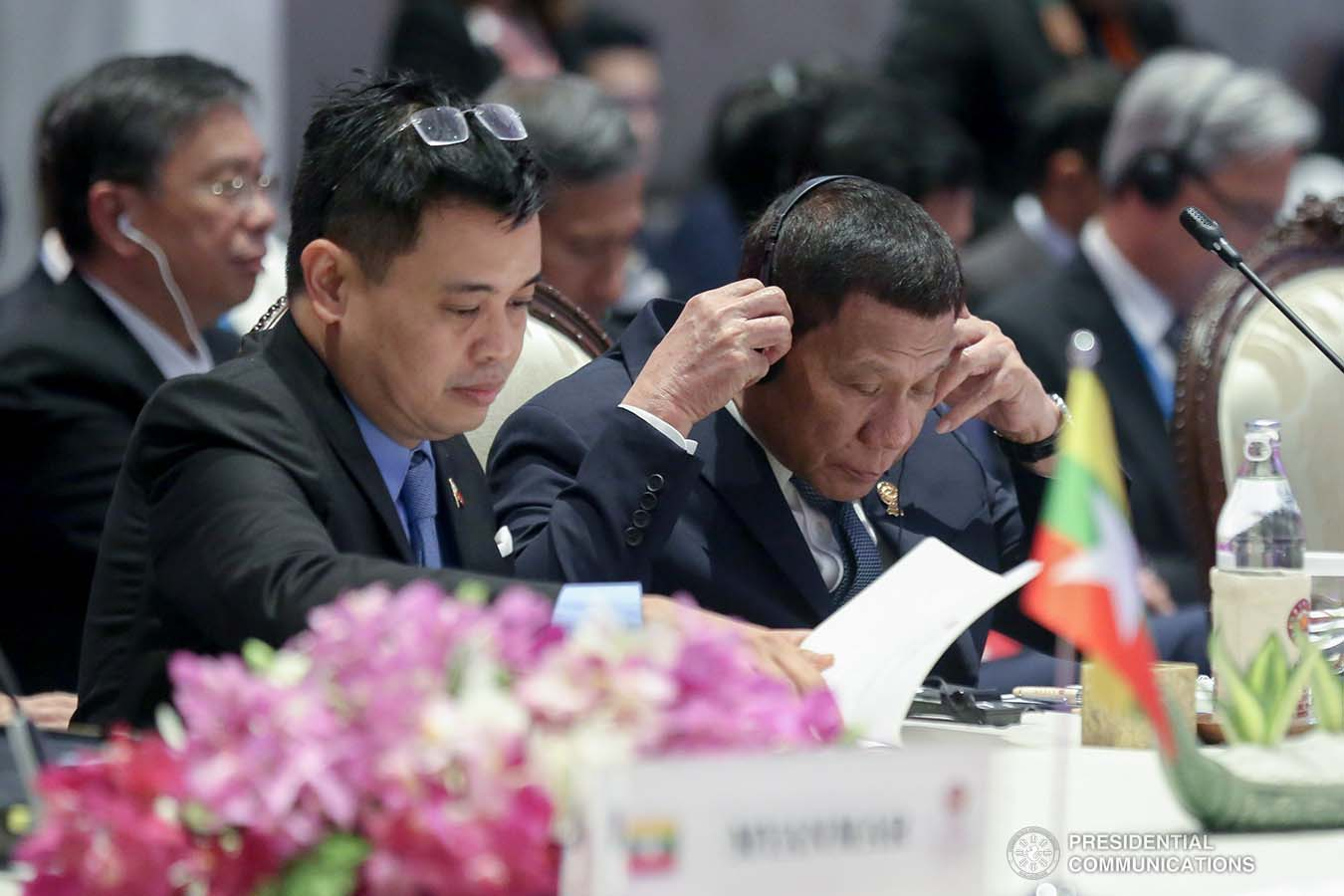 President Rodrigo Roa Duterte joins other leaders from the Association of Southeast Asian Nations (ASEAN) member countries and Prime Minister of Japan Shinzo Abe during the 22nd ASEAN-Japan Summit at the Impact Exhibition and Convention Center in Nonthaburi, Thailand on November 4, 2019. ALBERT ALCAIN/PRESIDENTIAL PHOTO