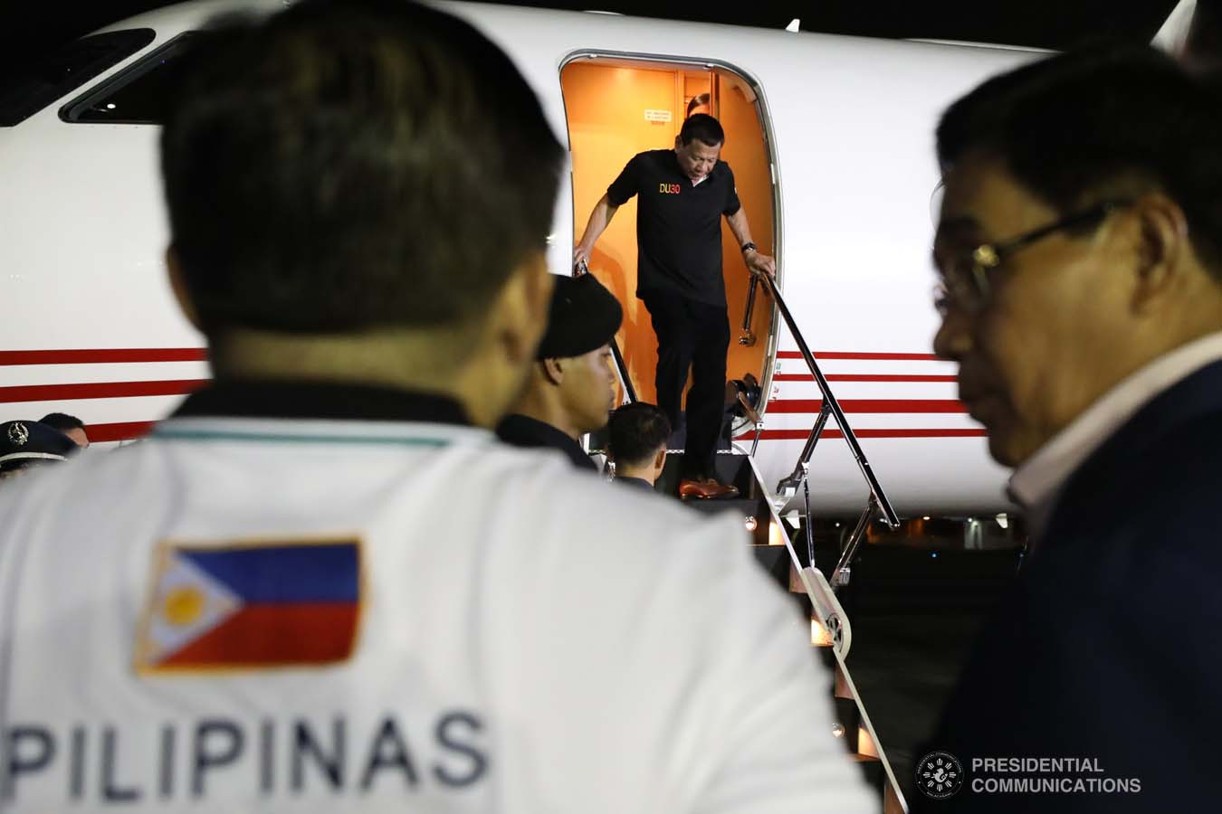 President Rodrigo Roa Duterte disembarks from a plane upon his arrival at the Villamor Air Base in Pasay City on November 4, 2019 following his successful participation in the 35th Association of Southeast Asian Nations (ASEAN) Summit and Related Summits in the Kingdom of Thailand. ROBINSON NIÑAL JR./PRESIDENTIAL PHOTO