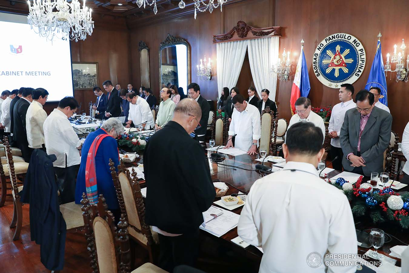 President Rodrigo Roa Duterte joins the members of the cabinet as they bow their heads in prayer prior to the start of the 43rd Cabinet Meeting at the Malacañan Palace on November 6, 2019. ACE MORANDANTE/PRESIDENTIAL PHOTO