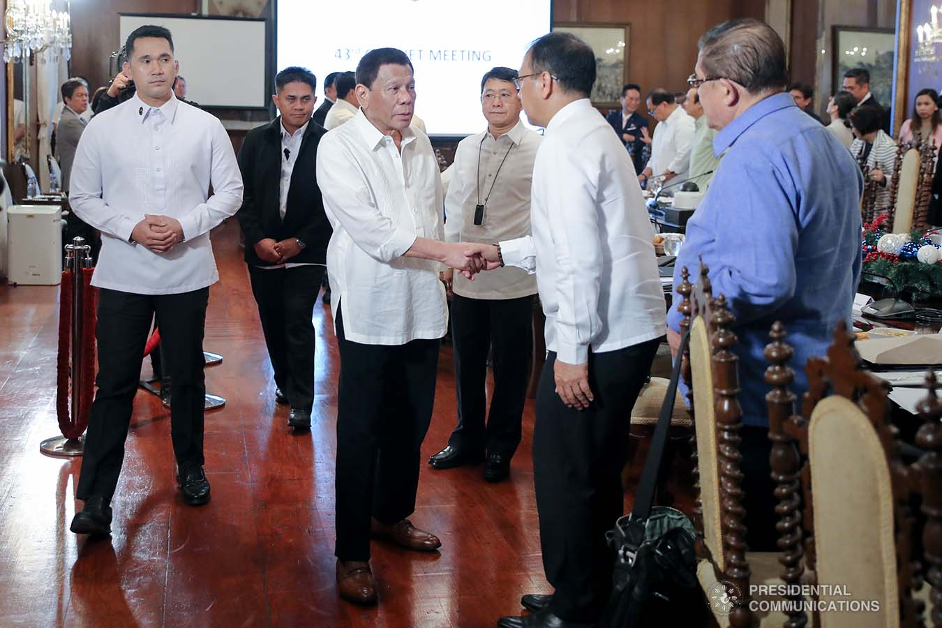 President Rodrigo Roa Duterte greets Presidential Adviser on the Peace Process Carlito Galvez Jr. prior to the start of the 43rd Cabinet Meeting at the Malacañan Palace on November 6, 2019. ALFRED FRIAS/PRESIDENTIAL PHOTO