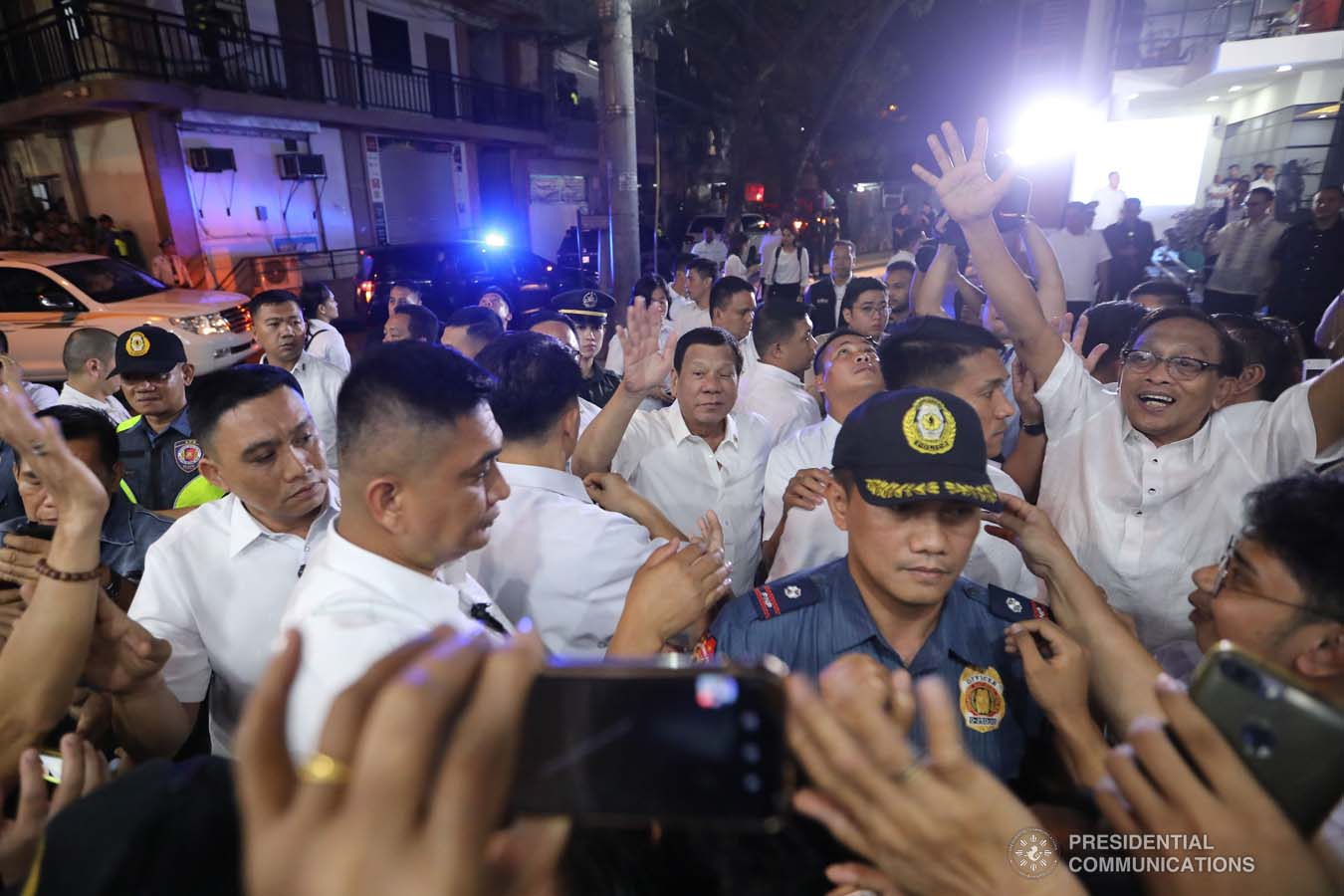 President Rodrigo Roa Duterte interacts with his supporters upon his arrival at the Taguig City Center for the Elderly on November 21, 2019. ALFRED FRIAS/PRESIDENTIAL PHOTO