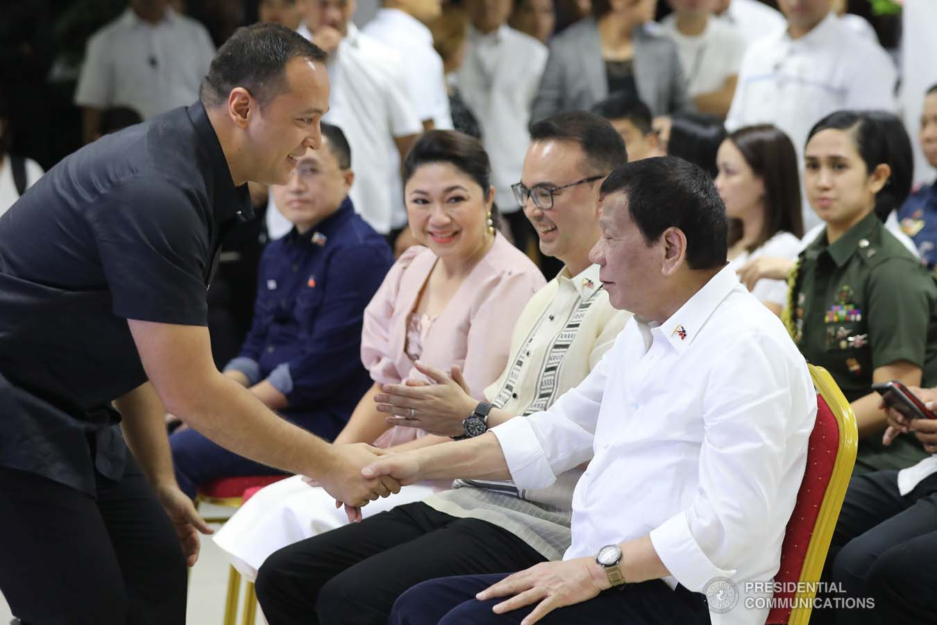 President Rodrigo Roa Duterte is greeted by Taguig City Mayor Lino Cayetano during the President's visit to the Taguig City Center for the Elderly on November 21, 2019. ALFRED FRIAS/PRESIDENTIAL PHOTO