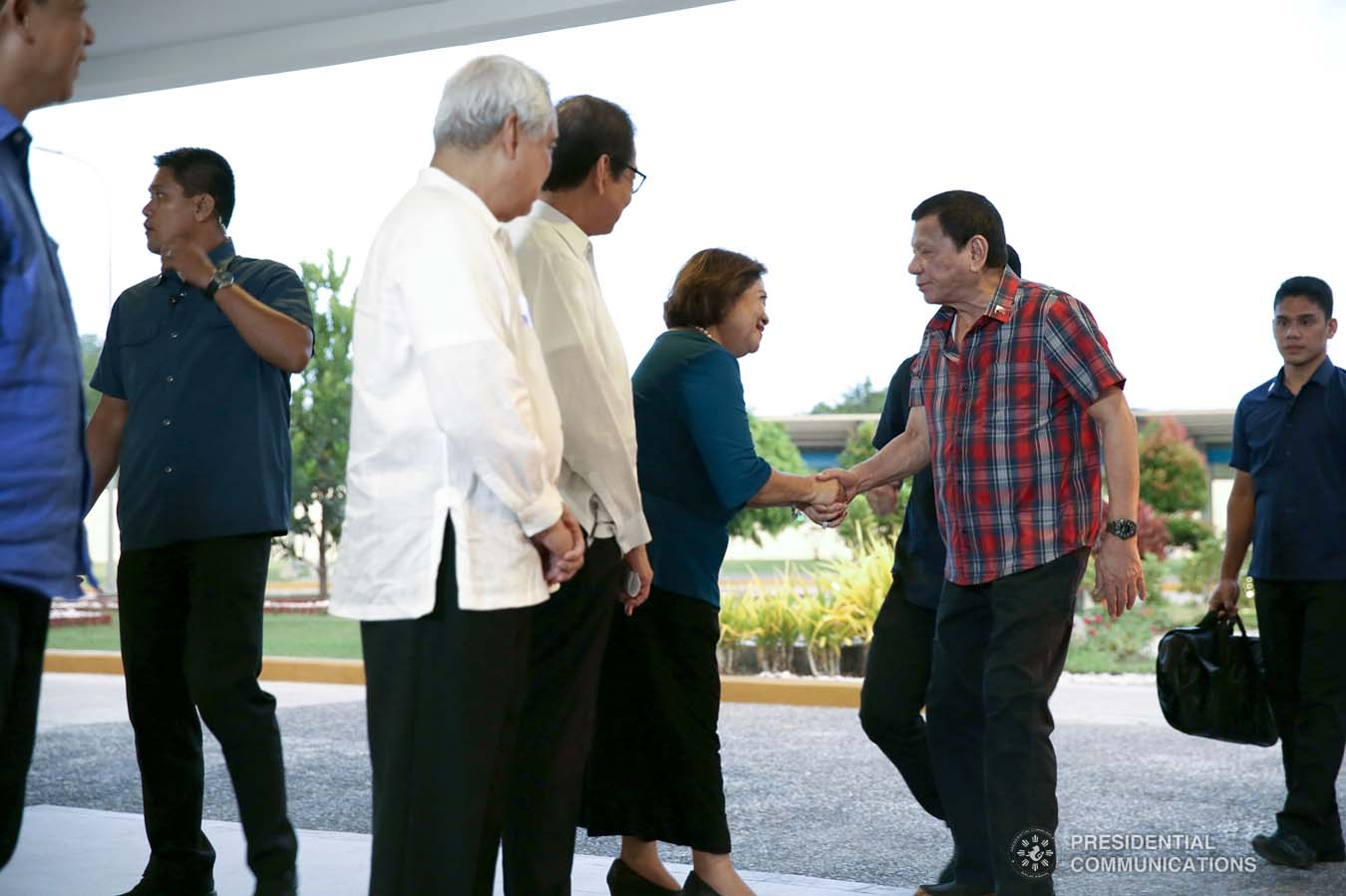 President Rodrigo Roa Duterte receives a warm welcome upon his arrival at the Sarangani Energy Corporation (SEC) Plant Site in Maasim, Sarangani Province for the inauguration of SEC's 105-Megawatt Coal-Fired Power Plant Phase 2 and the launch of the 14.5-Megawatt Hydropower Project of Siguil Hydro Power Corporation on November 22, 2019. SIMEON CELI JR./PRESIDENTIAL PHOTO
