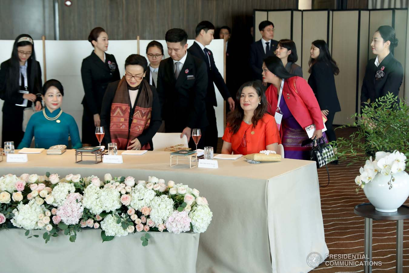 President Rodrigo Roa Duterte's partner Cielito Avanceña joins the spouses of the leaders from the Association of Southeast Asian Nations (ASEAN) member countries and Republic of Korea (ROK) President Moon Jae-in during the luncheon meeting at the Busan Exhibition and Convention Center on November 26, 2019. ROBINSON NIÑAL JR./PRESIDENTIAL PHOTO