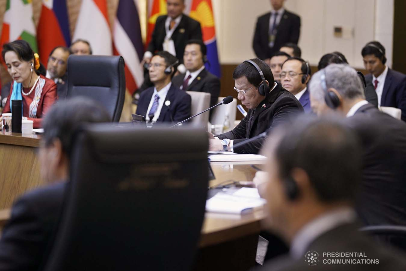 President Rodrigo Roa Duterte joins other leaders from the Association of Southeast Asian Nations (ASEAN) and Republic of Korea President Moon Jae-in during the plenary session of the ASEAN-Republic of Korea Commemorative Summit at the Busan Exhibition and Convention Center on November 26, 2019. ARMAN BAYLON/PRESIDENTIAL PHOTO