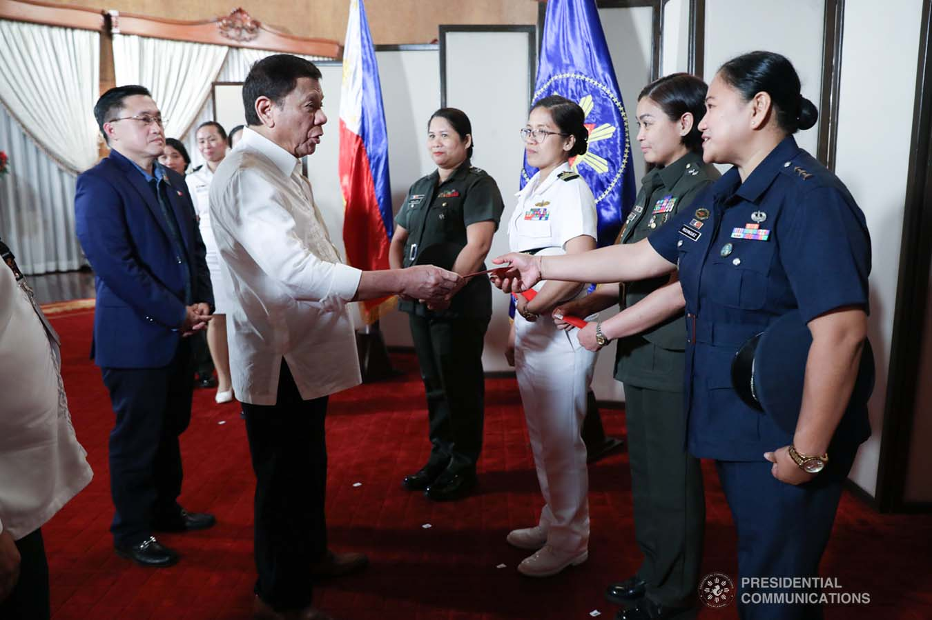 President Rodrigo Roa Duterte meets the candidates for military observer in various United Nations (UN) Peacekeeping Missions at the Malacañan Palace on November 29, 2019. ROBINSON NIÑAL JR./PRESIDENTIAL PHOTO