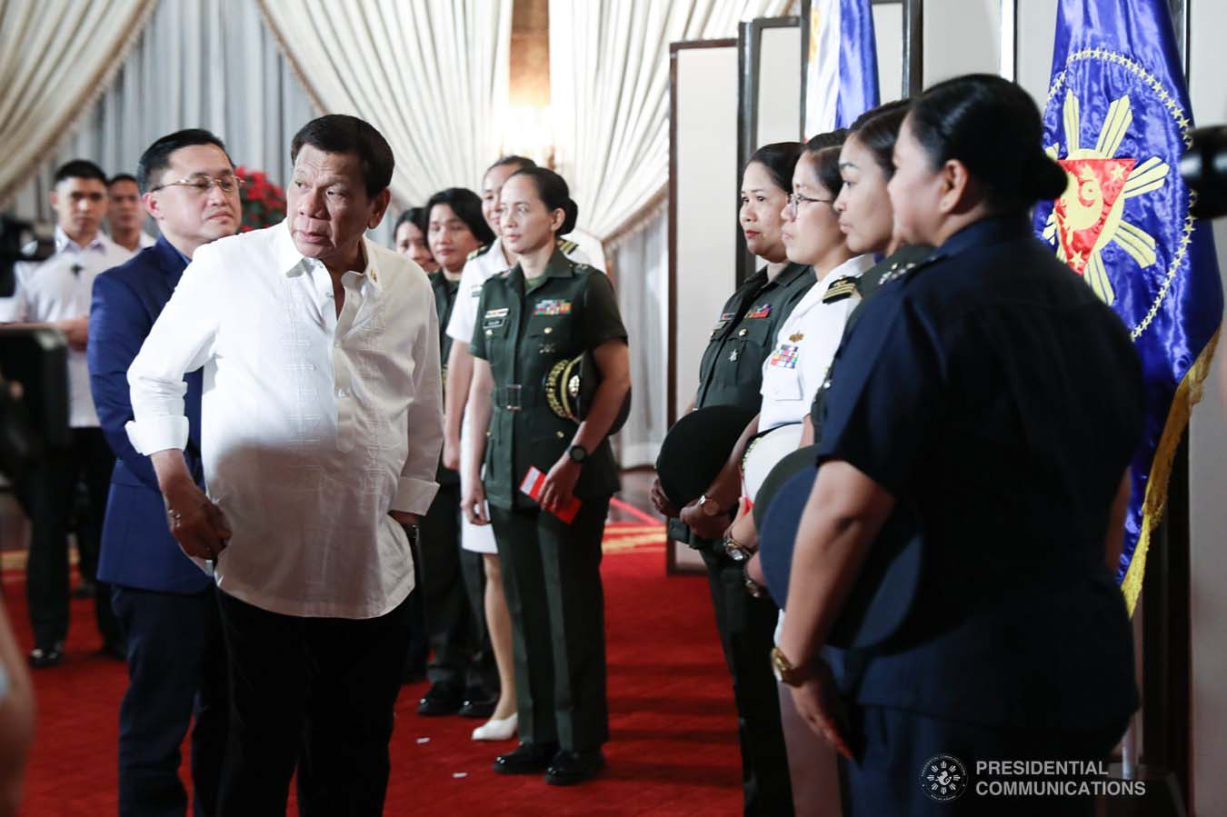 President Rodrigo Roa Duterte gives a message to the candidates for military observer in various United Nations (UN) Peacekeeping Missions during their meeting at the Malacañan Palace on November 29, 2019. ROBINSON NIÑAL JR./PRESIDENTIAL PHOTO