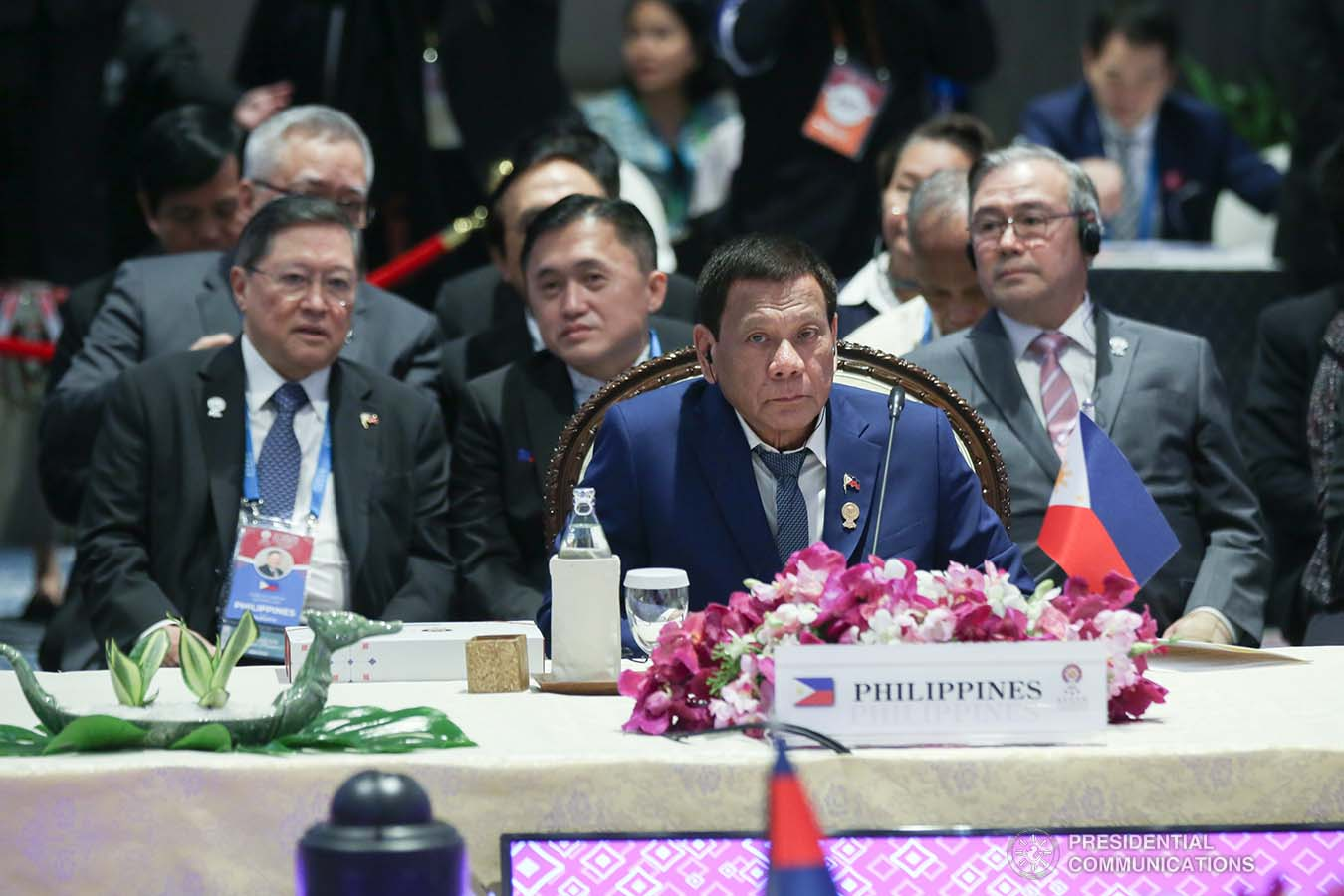 President Rodrigo Roa Duterte joins other leaders from the Association of Southeast Asian Nations (ASEAN) member countries during the 35th ASEAN Summit Plenary at the Bangkok to Impact Exhibition and Convention Center in Nonthaburi, Thailand on November 2, 2019. SIMEON CELI JR./PRESIDENTIAL PHOTO