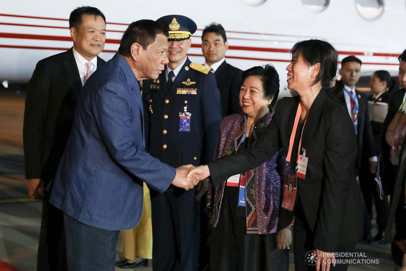 President Rodrigo Roa Duterte is welcomed by a member of the reception party upon his arrival at the Royal Thai Air Force Base in Bangkok, Thailand on November 1, 2019. TOTO LOZANO/PRESIDENTIAL PHOTO