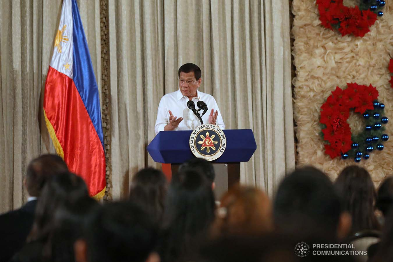 President Rodrigo Roa Duterte delivers his speech after leading the awarding ceremony for the 2018 Presidential Award for Child-Friendly Municipalities and Cities (PACFMC) at the Malacañan Palace on November 28, 2019. TOTO LOZANO/PRESIDENTIAL PHOTO
