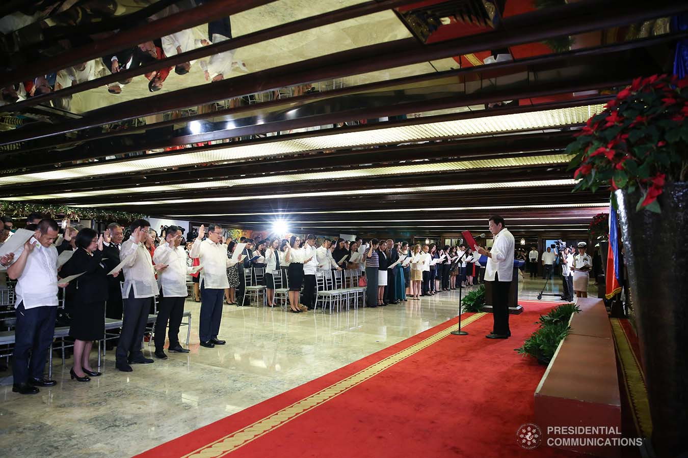 President Rodrigo Roa Duterte swears into office the newly-appointed government officials during a ceremony at the Malacañan Palace on December 3, 2019. ALBERT ALCAIN/PRESIDENTIAL PHOTO