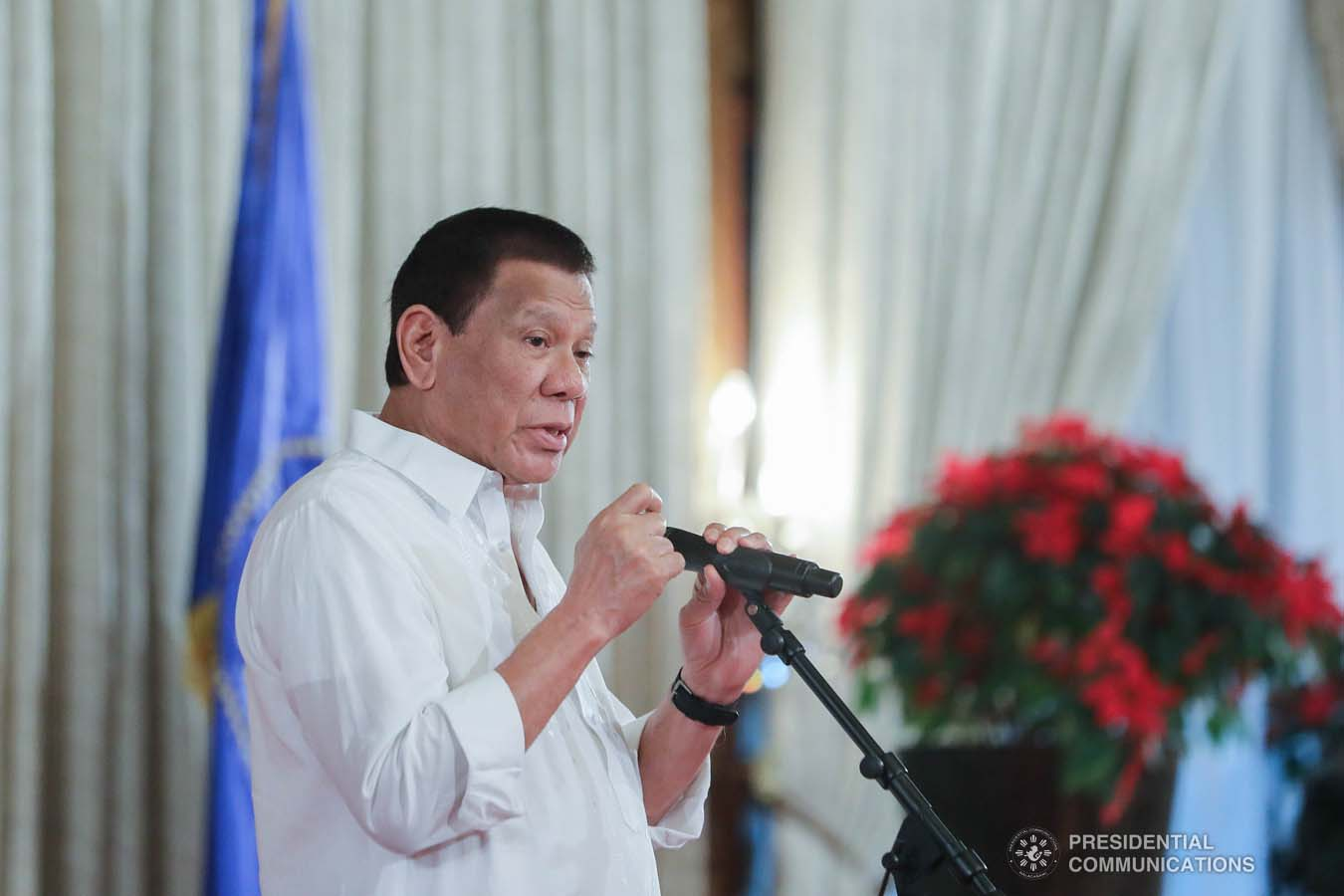 President Rodrigo Roa Duterte delivers his speech during the oath-taking ceremony of the newly promoted uniformed personnel of the Bureau of Fire Protection, Bureau of Jail Management and Penology and Philippine Coast Guard at the Malacañan Palace on December 10, 2019. ALFRED FRIAS/PRESIDENTIAL PHOTO
