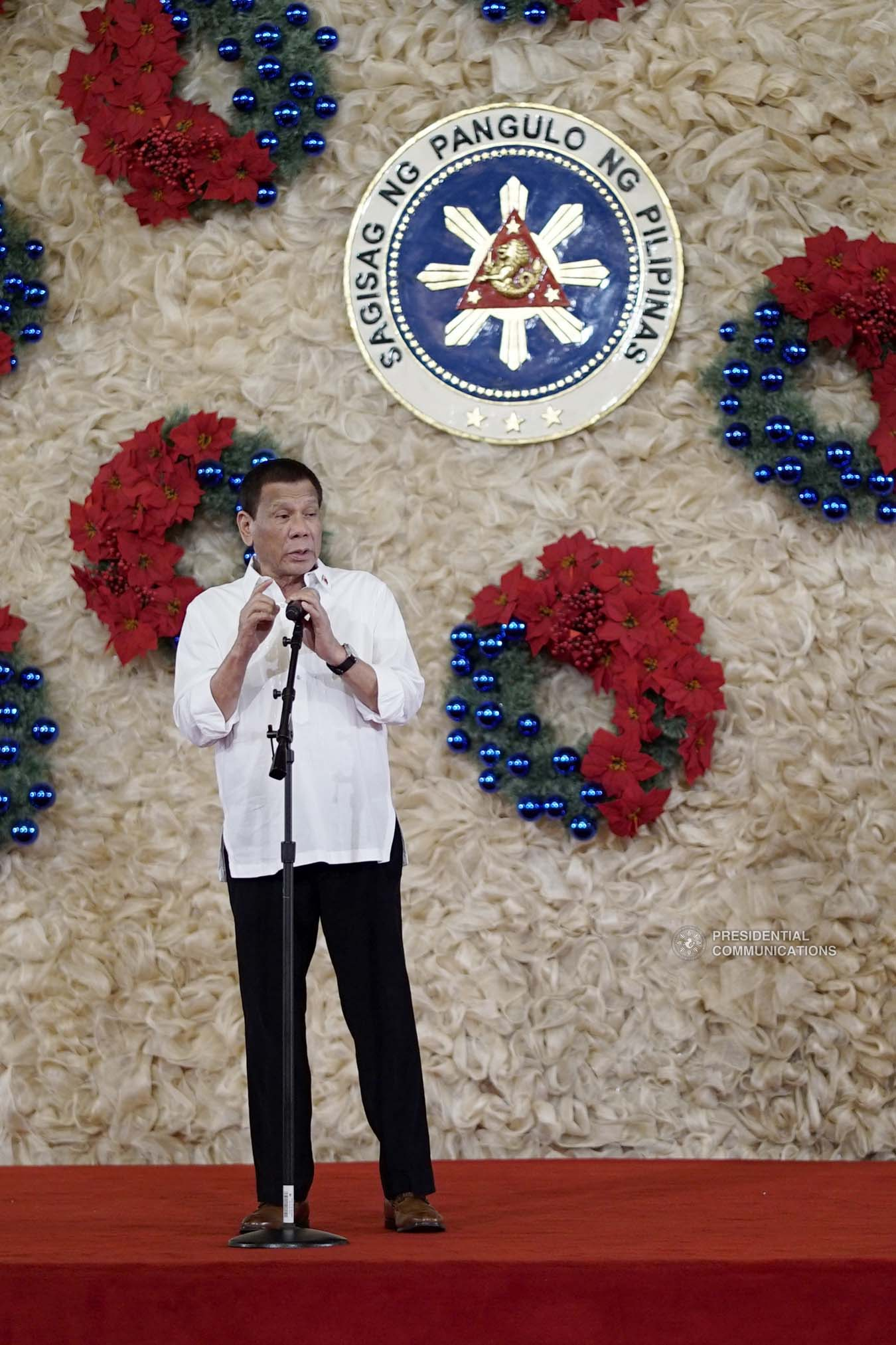 President Rodrigo Roa Duterte delivers his speech during the oath-taking ceremony of the newly promoted uniformed personnel of the Bureau of Fire Protection, Bureau of Jail Management and Penology and Philippine Coast Guard at the Malacañan Palace on December 10, 2019. KING RODRIGUEZ/PRESIDENTIAL PHOTO