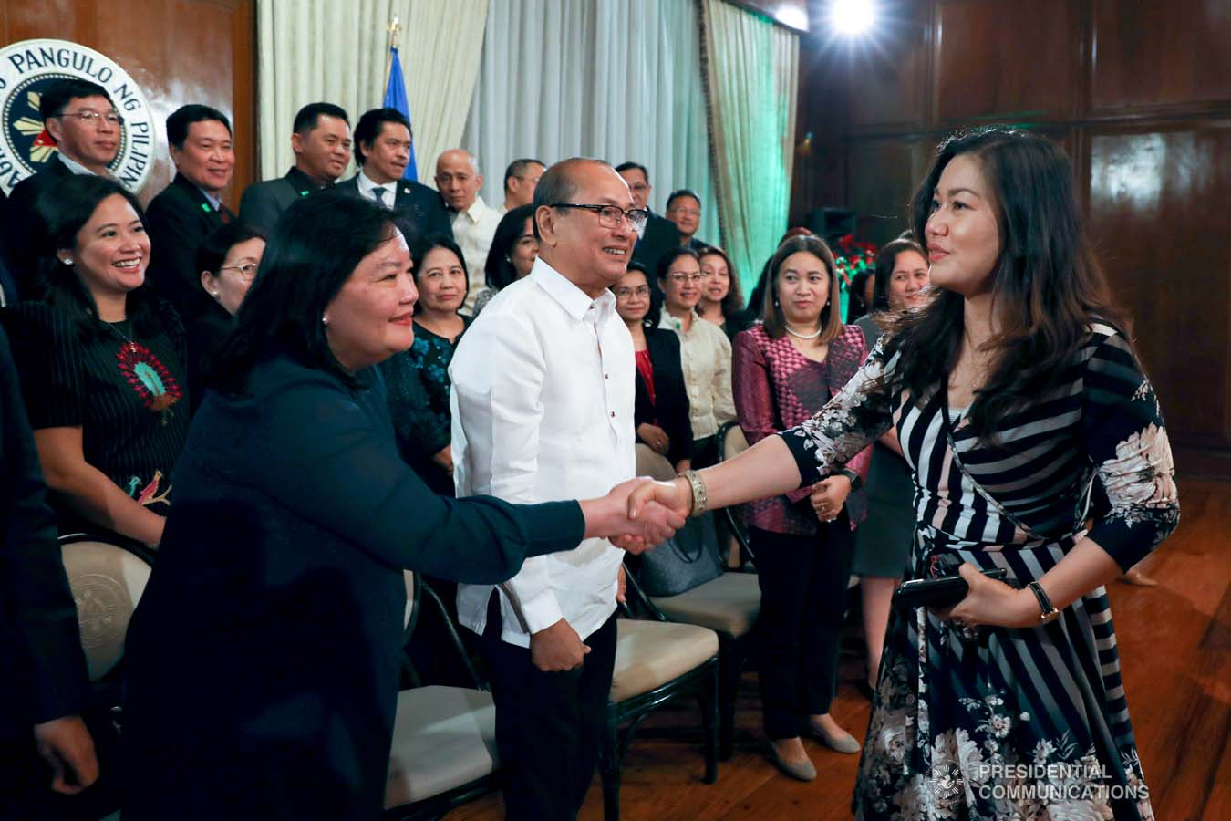 President Rodrigo Roa Duterte's partner Cielito Avanceña greets the Labor Attachés from the Department of Labor and Employment during their meeting at the Malacañan Palace on December 9, 2019. KARL NORMAN ALONZO/PRESIDENTIAL PHOTO