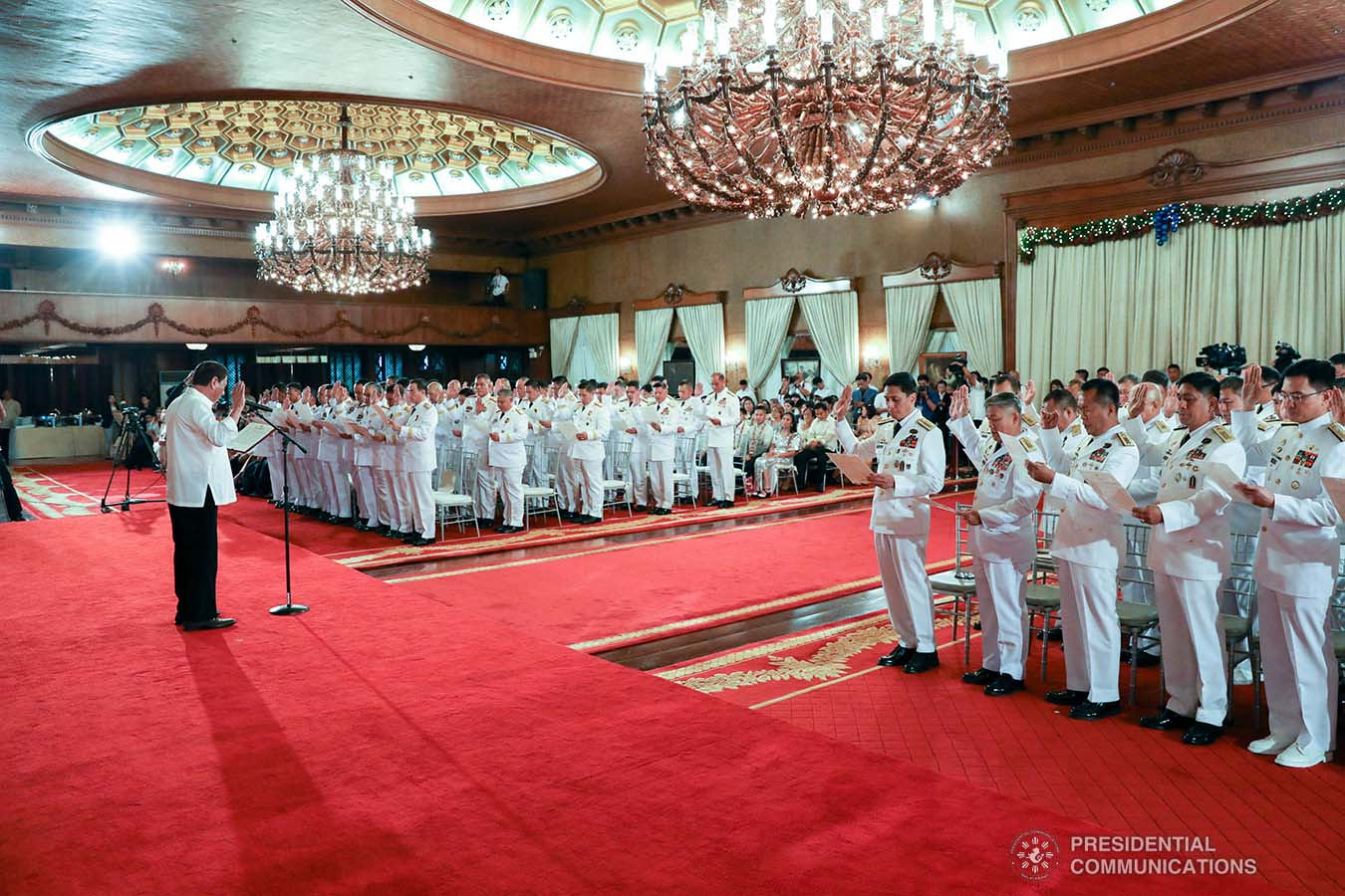 President Rodrigo Roa Duterte administers the oath of office to the newly-appointed flag officers of the Armed Forces of the Philippines and star-ranked officers of the Philippine National Police at the Malacañan Palace on December 9, 2019. KARL NORMAN ALONZO/PRESIDENTIAL PHOTO