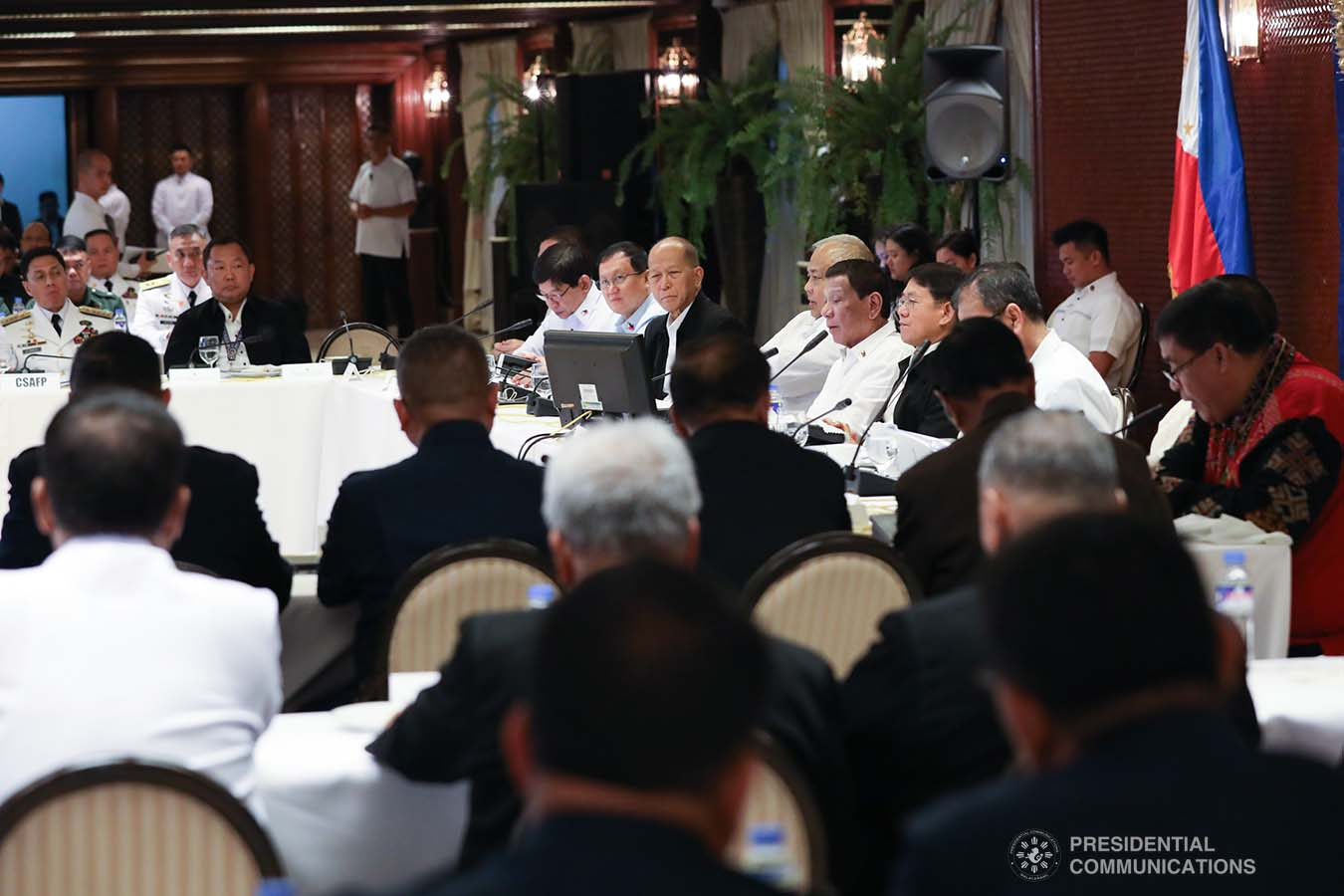 President Rodrigo Roa Duterte presides over the joint Armed Forces of the Philippines-Philippine National Police (AFP-PNP) Command Conference at the Malacañan Palace on December 9, 2019. ROBINSON NIÑAL JR./PRESIDENTIAL PHOTO
