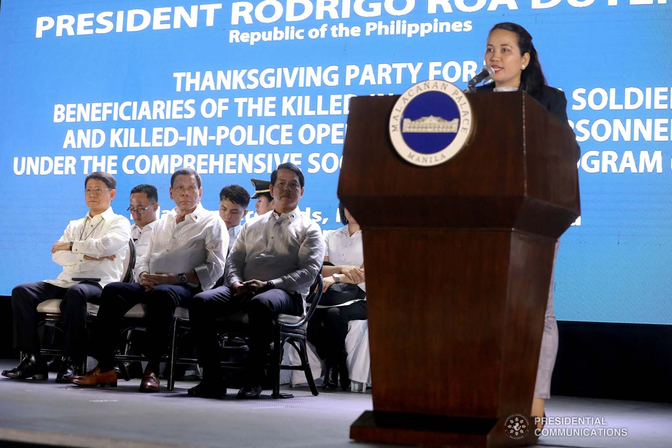 President Rodrigo Roa Duterte witnesses the program proper during the Thanksgiving party for the beneficiaries of   the killed-in-action (KIA) soldiers and killed-in-police operation (KIPO) personnel under the Comprehensive Social   Benefits Program at the Malacañan Palace on December 10, 2019. ALFRED FRIAS/PRESIDENTIAL PHOTO