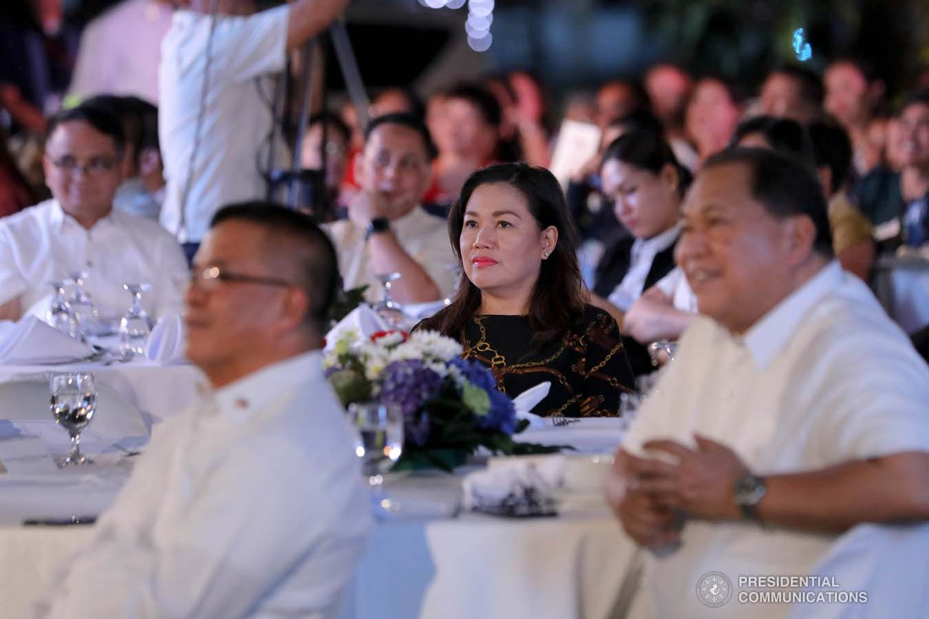 President Rodrigo Roa Duterte's partner Cielito Avanceña listens to the President's speech during the Thanksgiving party for the beneficiaries of the killed-in-action (KIA) soldiers and killed-in-police operation (KIPO) personnel under the Comprehensive Social Benefits Program at the Malacañan Palace on December 10, 2019. ALFRED FRIAS/PRESIDENTIAL PHOTO