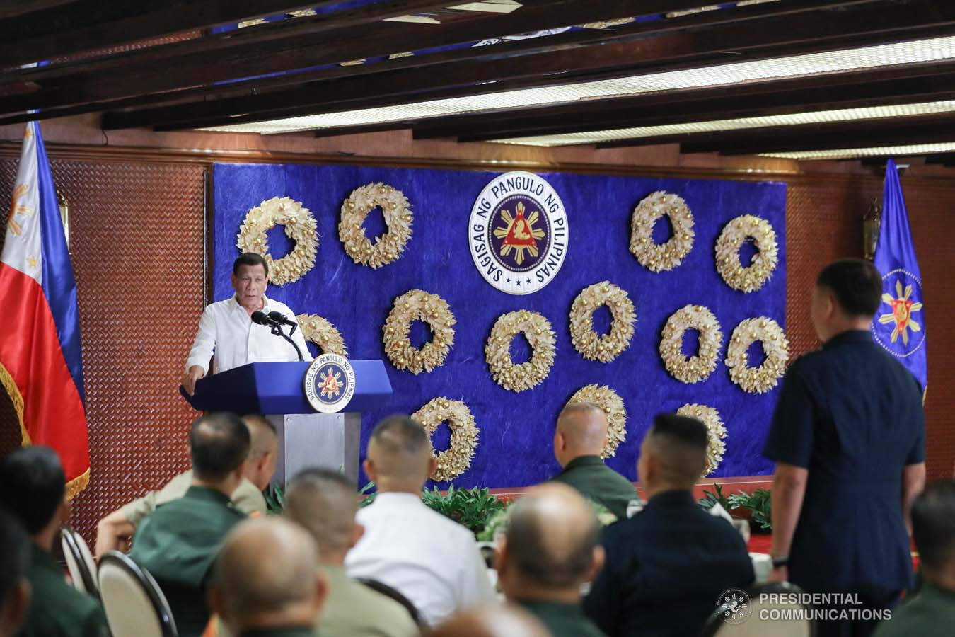 President Rodrigo Roa Duterte delivers his speech during the Thanksgiving gathering he hosted for the Armed Forces of the Philippines Council of the Sergeants Major at the Malacañan Palace on December 10, 2019. ALFRED FRIAS/PRESIDENTIAL PHOTO